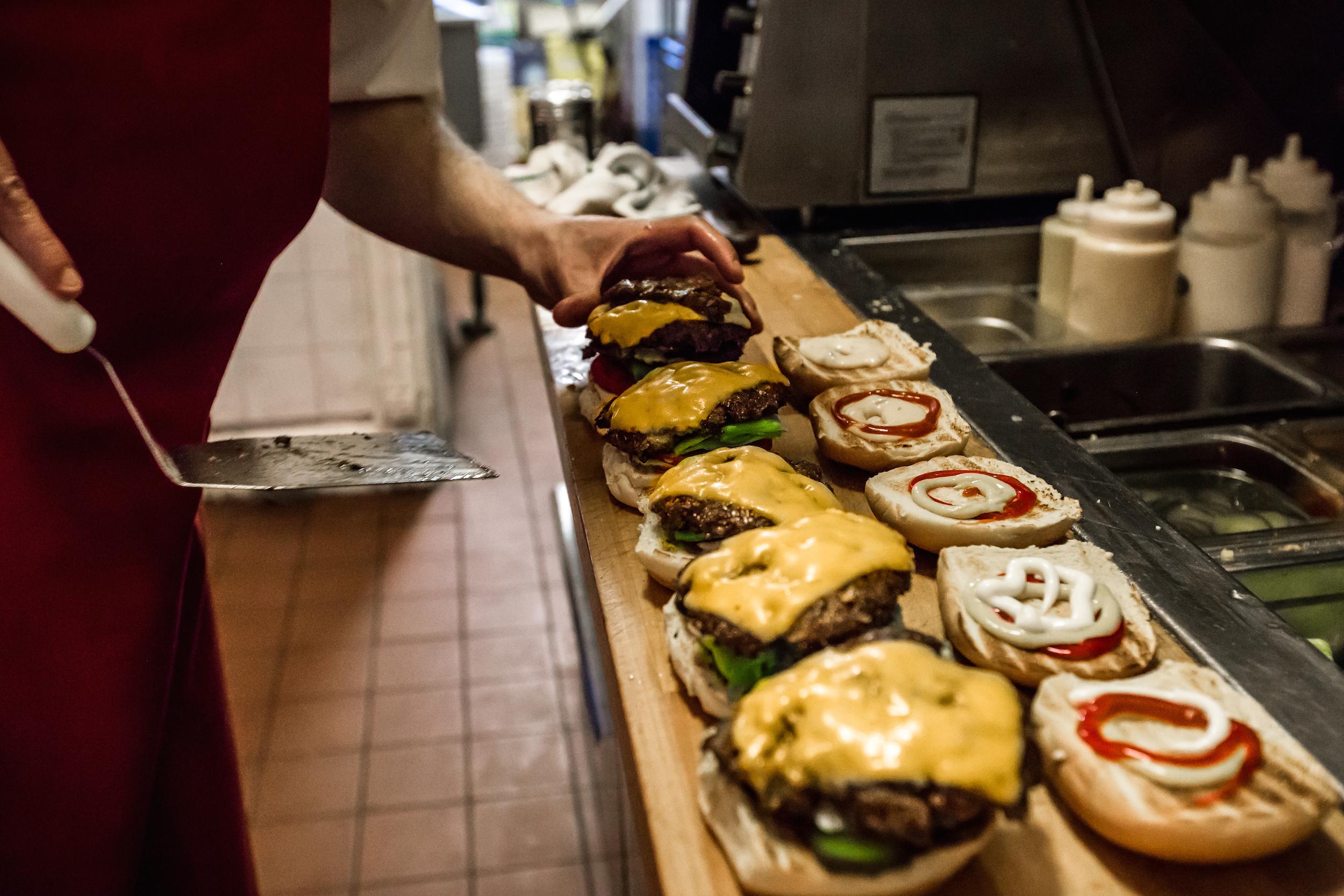 The burger line at Uniburger