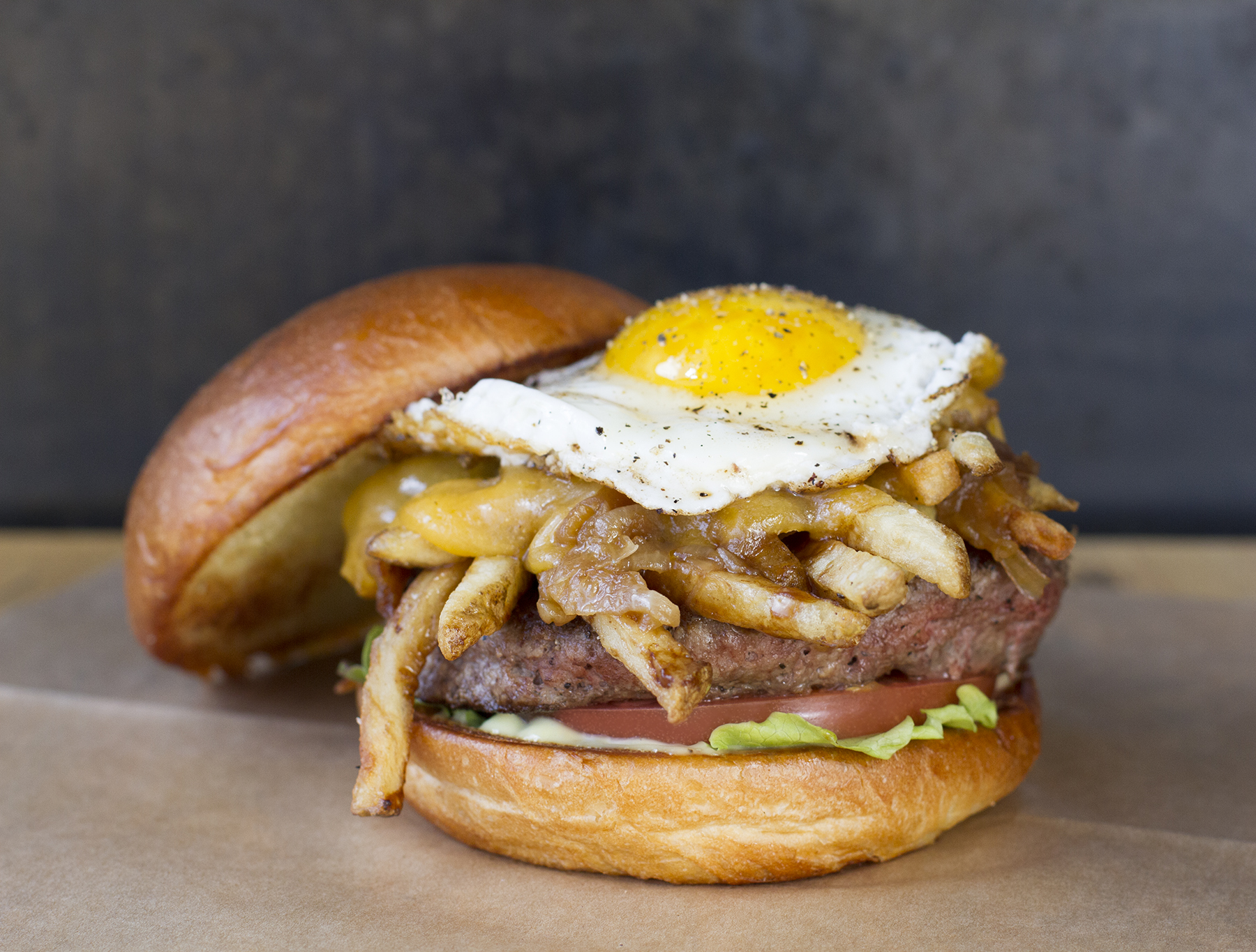 Behold the poutine burger.