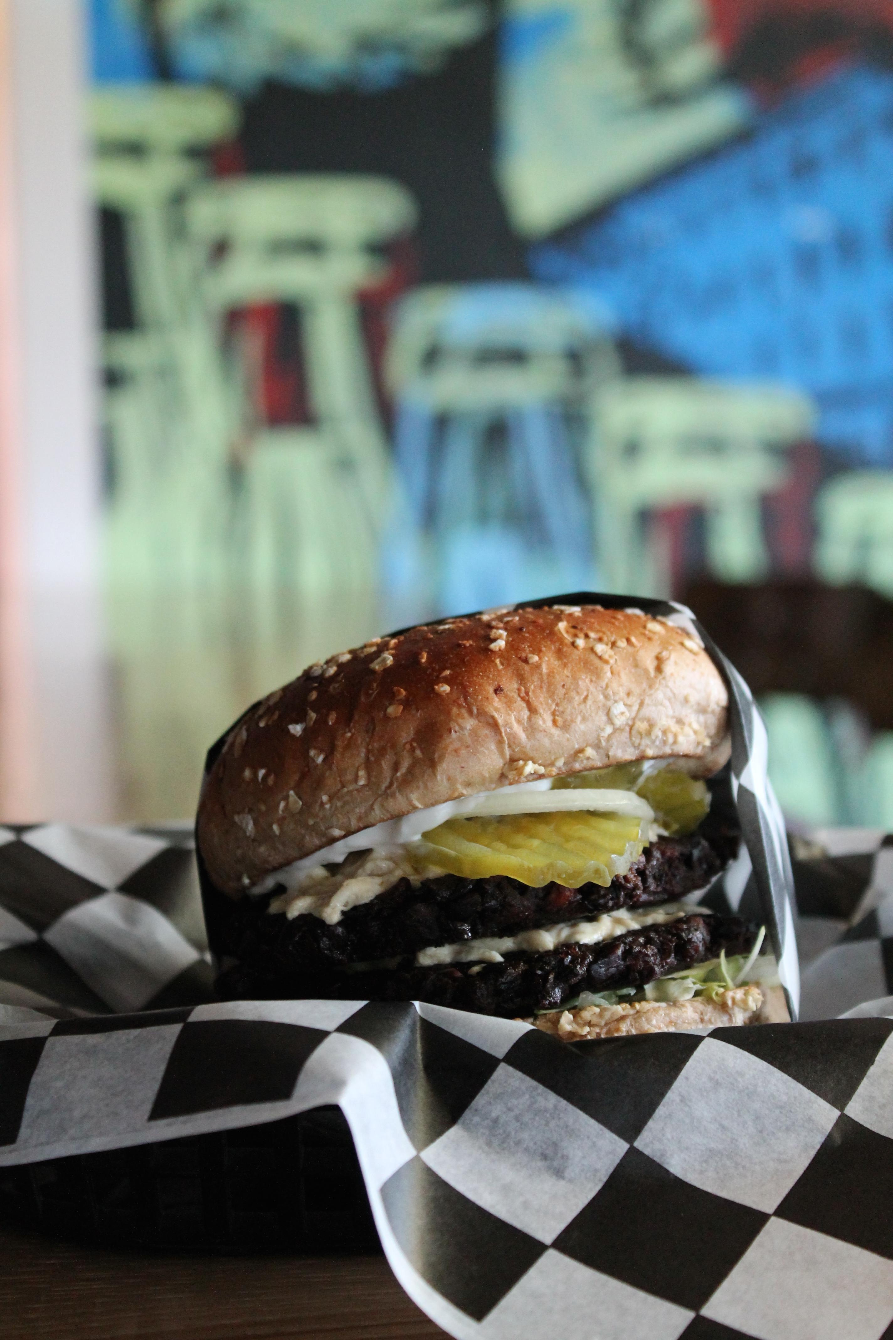 Double black bean burger at Parts & Labor