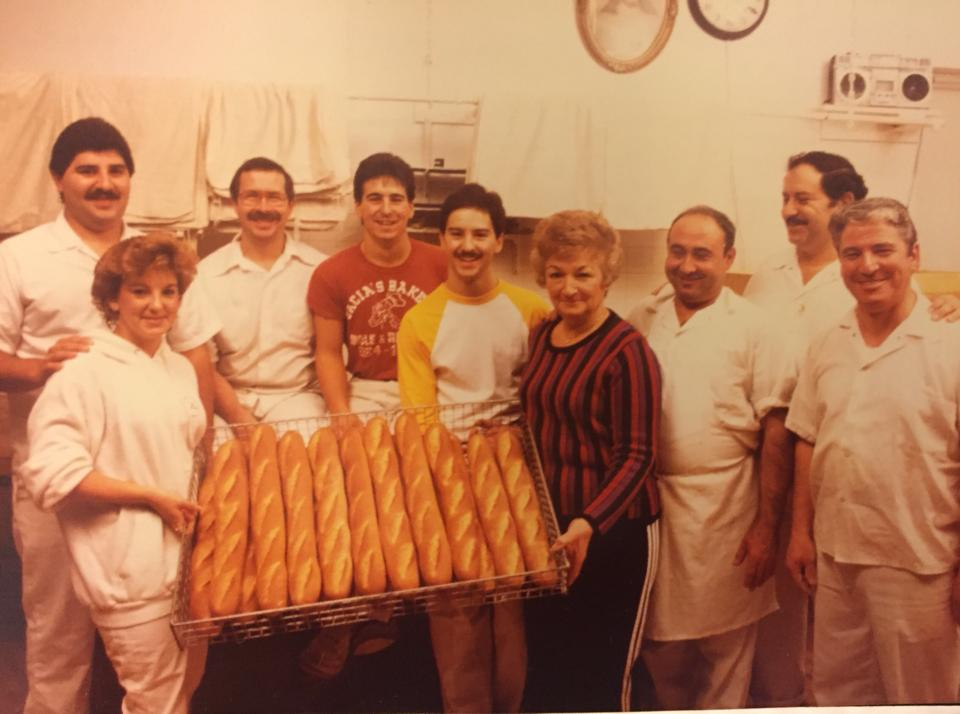 """1986 Cacia Crew. Raymond Cacia, Jeanmarie Cacia-Liscio, Johnny Bowen, Joe Cacia Jr. Sammy Cacia, Gilda, Dominic Cacia, Joseph Cacia Sr., Albert lannutti in that order,"" according to Gabrielle Cacia."