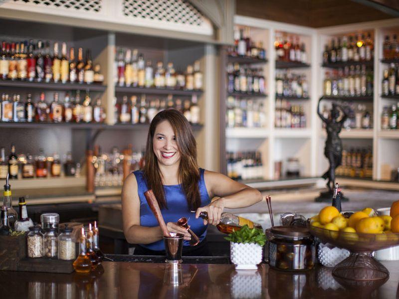 Alba Huerta pours at her bar, Julep.
