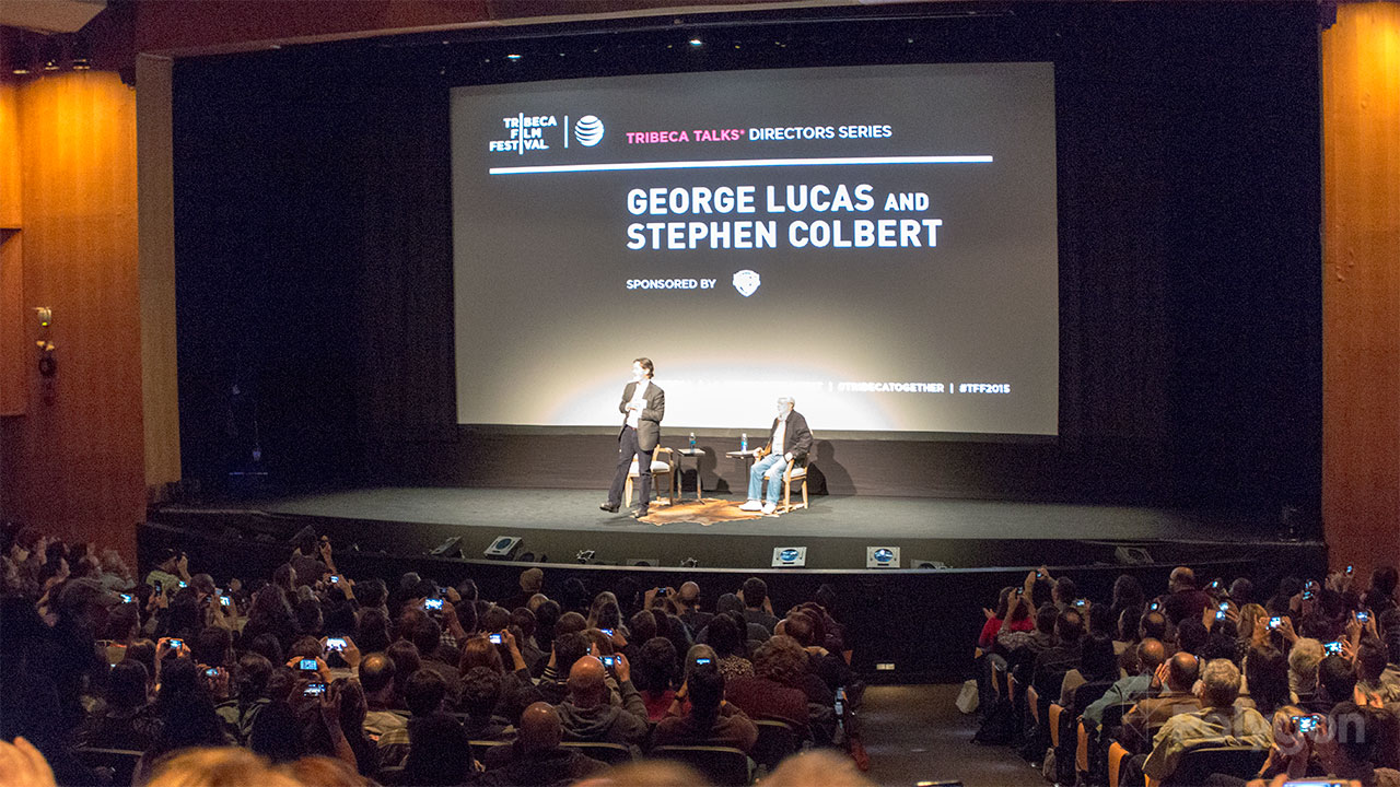 Stephen Colbert and George Lucas talk Star Wars, wooden dialogue and Howard the Duck