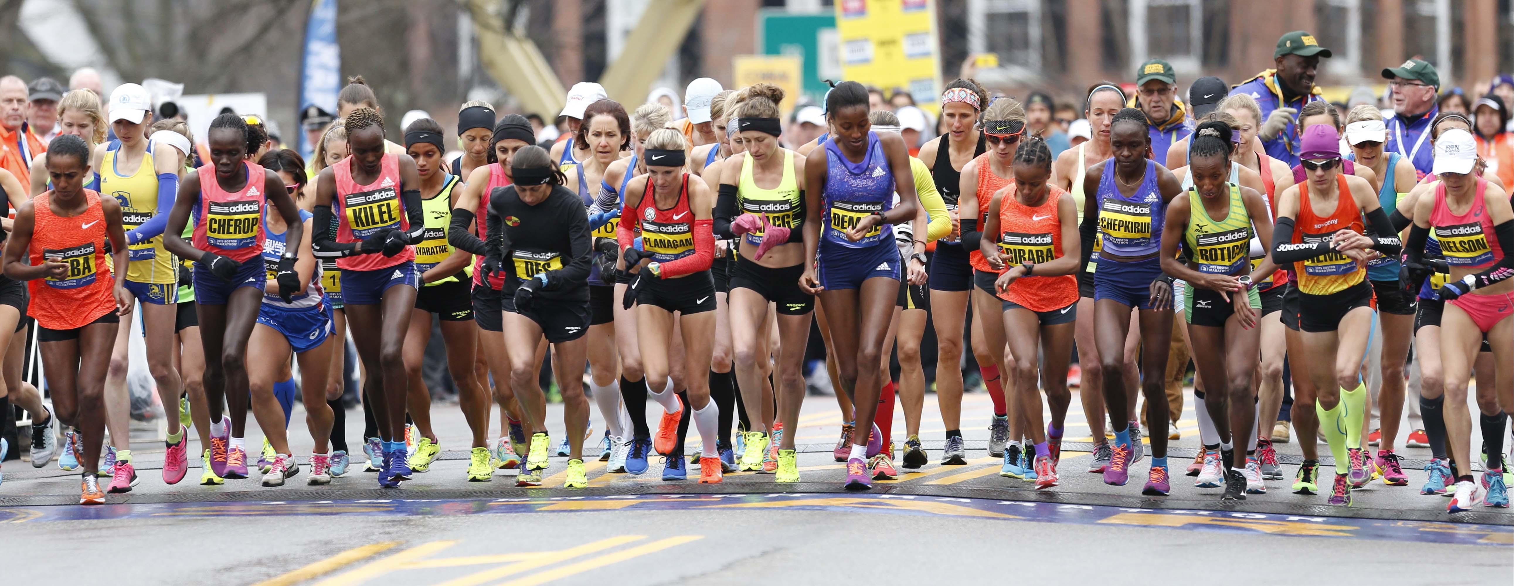 The elite women's group at the start of the Boston Marathon Monday