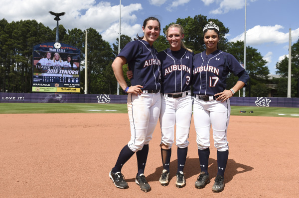 Seniors McKenzie Kilpatrick (25), Morgan Estell (3) and Branndi Melero (17). Arkansas vs Auburn in Auburn, Ala. on Sunday, April 26, 2015