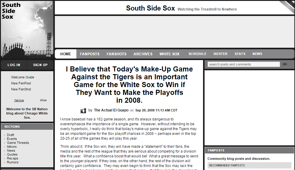 The morning of the makeup game against the Tigers in 2008.