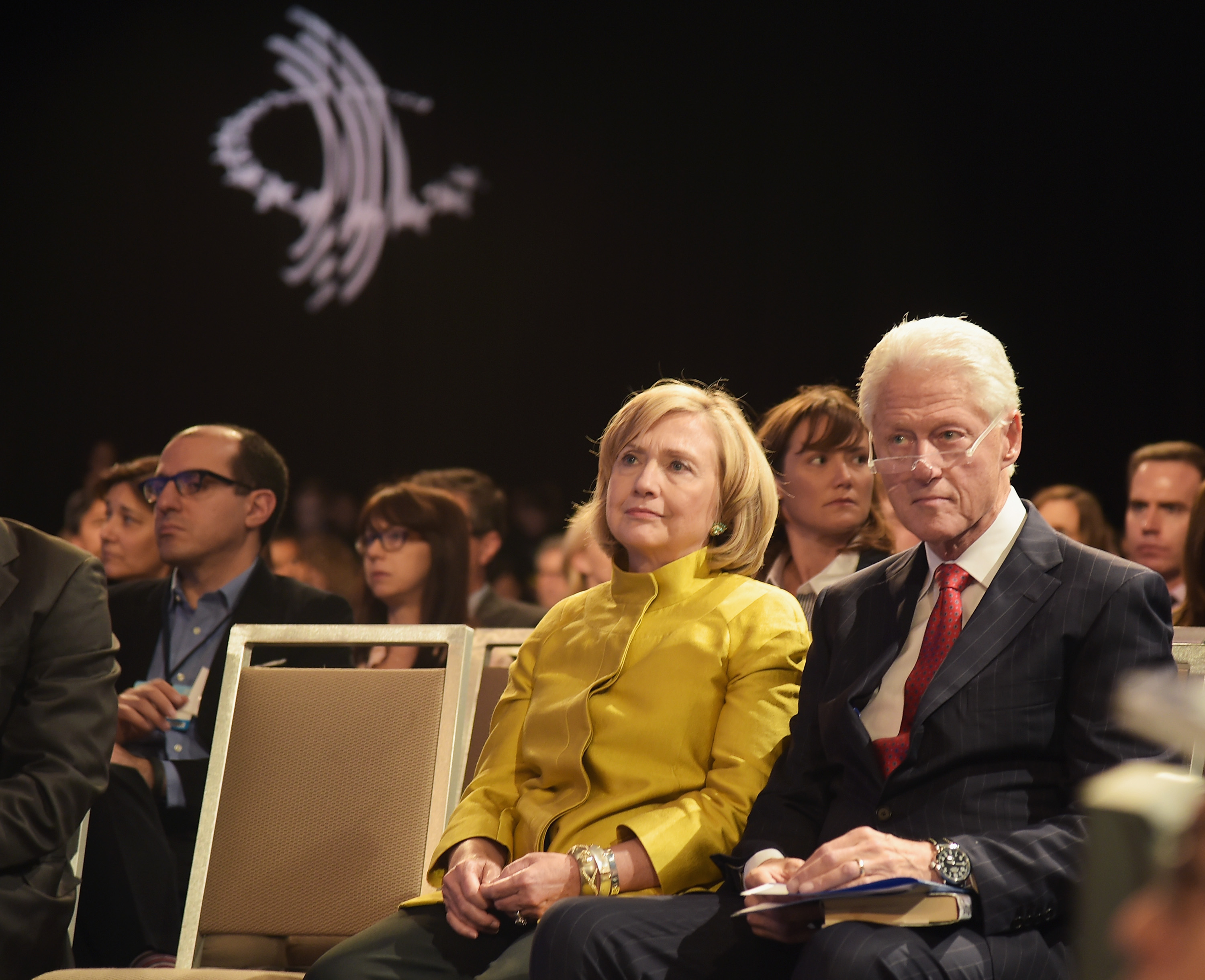 Former US Secretary of State Hillary Clinton and husband former US President Bill Clinton attend an event at the Clinton Global Initiative's meeting in New York in September.