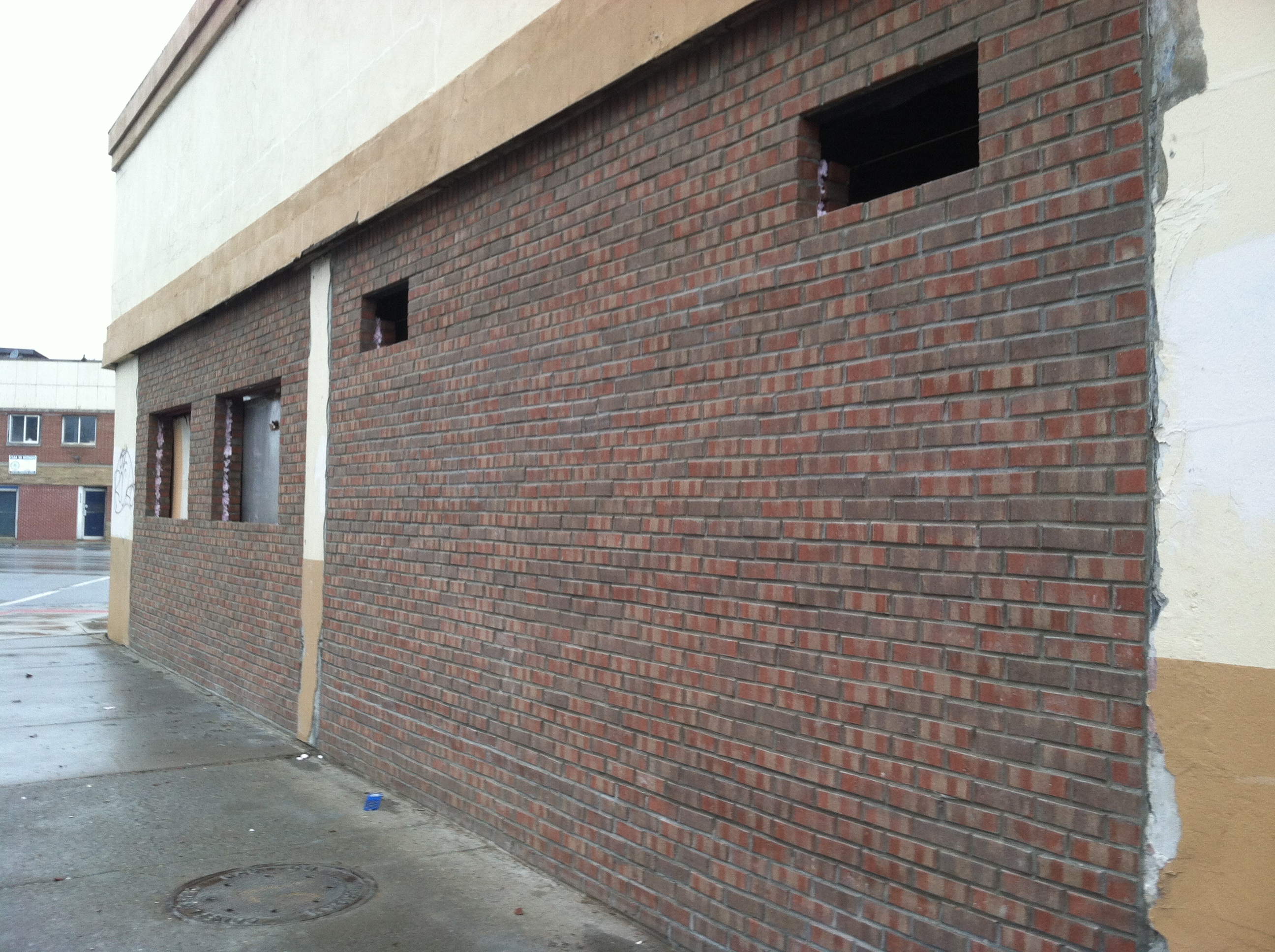 The brick facade at La Noria was recently completed. Renovations continue inside.