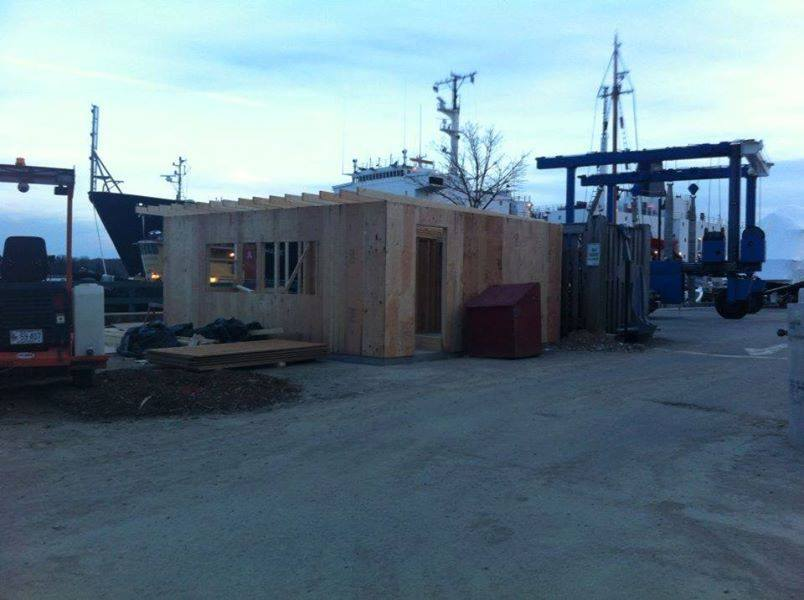 The new shack under construction on the Castine Town Dock.