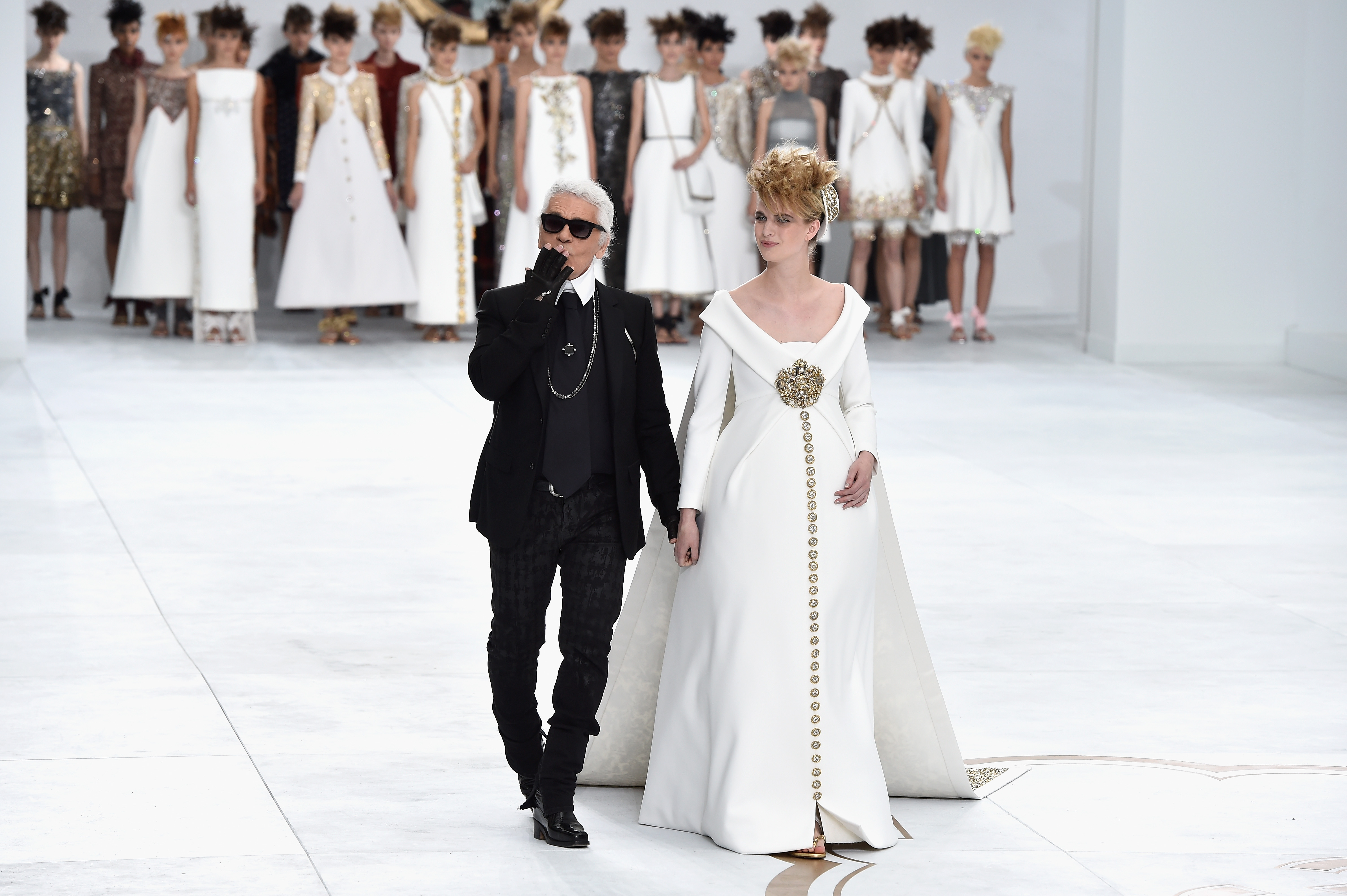 Karl Lagerfeld at Chanel's couture show in Paris, July 2014. Photo: Getty.