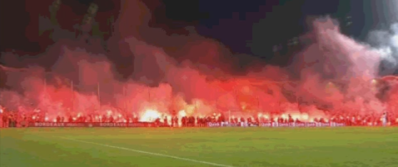 French soccer club says goodbye to their stadium with thousands of flares