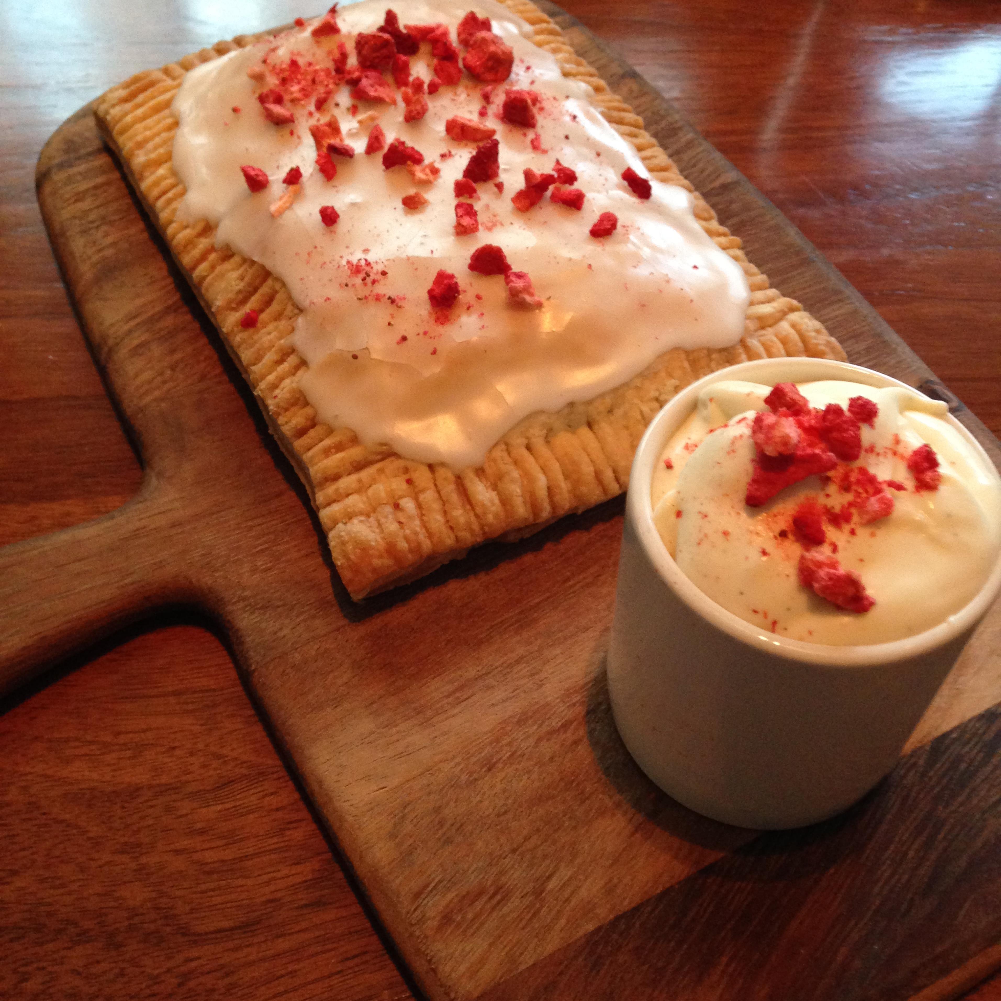 Strawberry rhubarb pop tart at Blue Duck Tavern