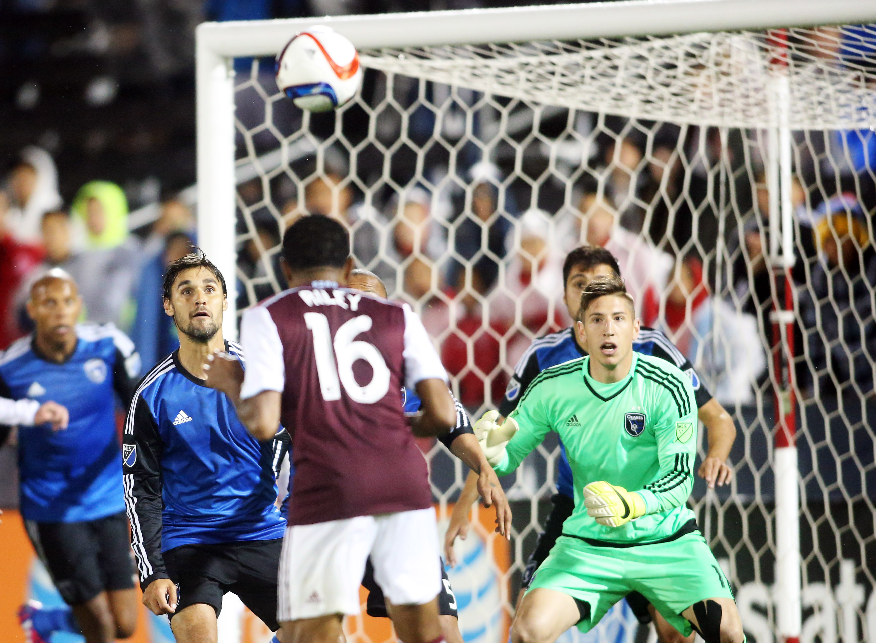 James Riley heading home the equalizer in stoppage time.