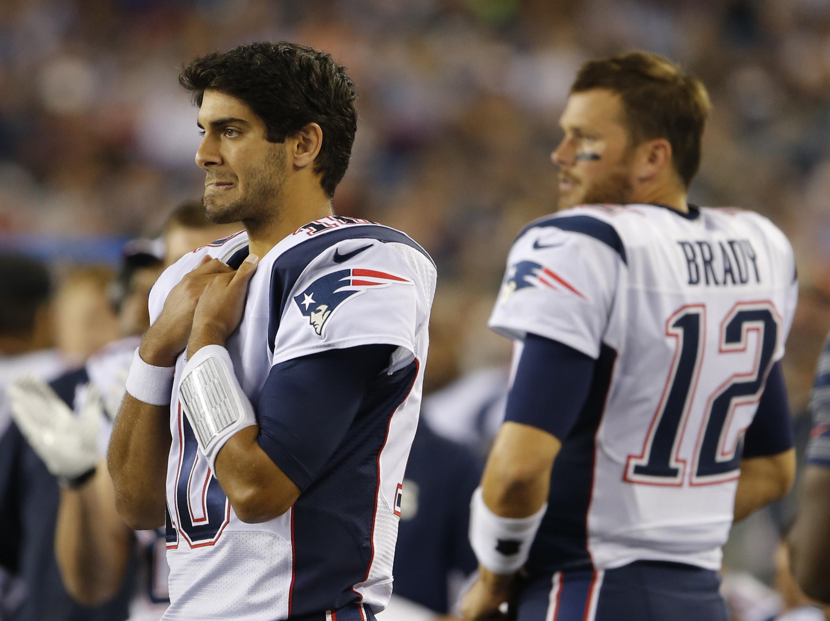 Jimmy Garoppolo, left, and Tom Brady