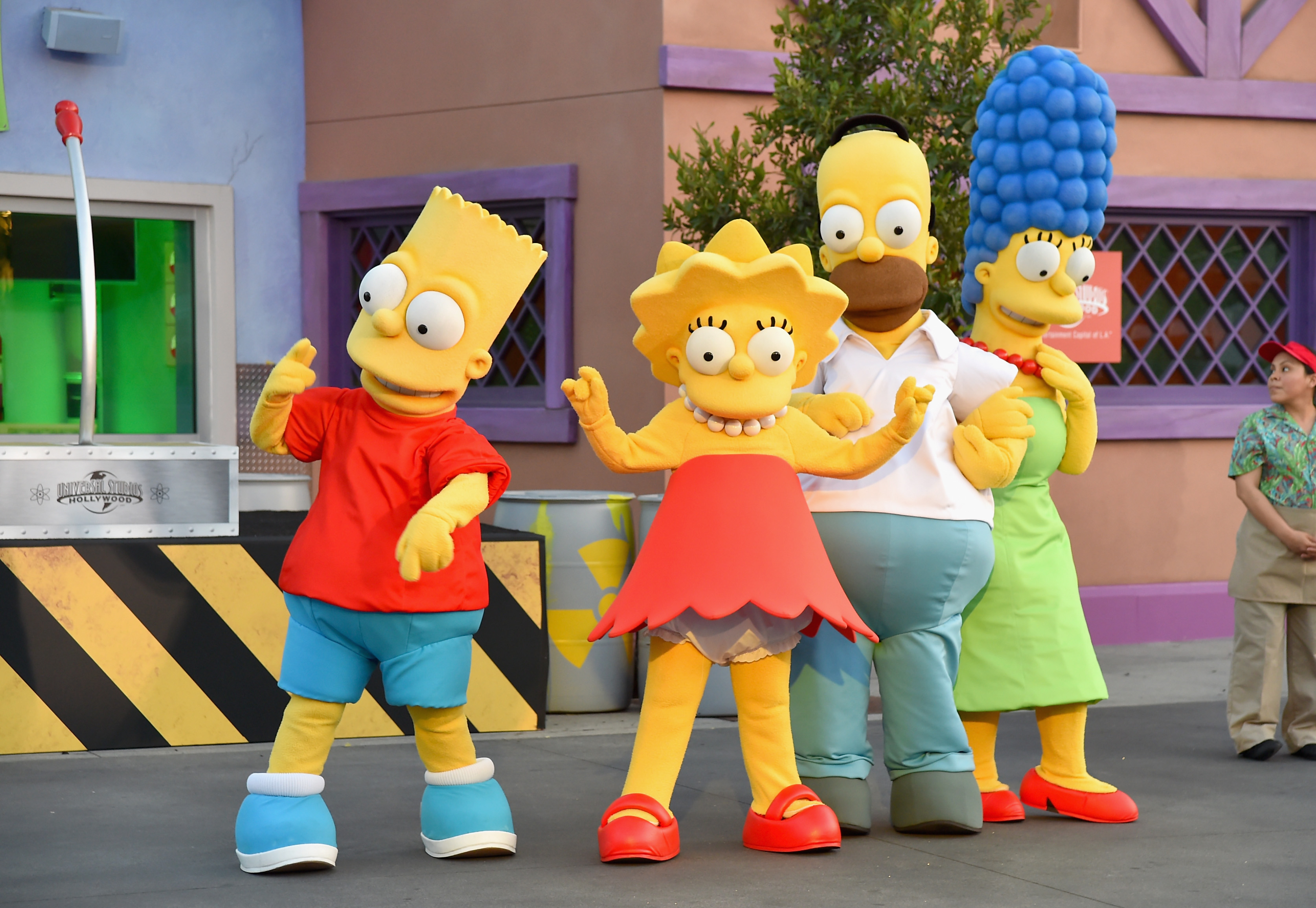 UNIVERSAL CITY, CA - MAY 12: The Simpsons attend the 'Taste of Springfield' press event at Universal Studios Hollywood on May 12, 2015 in Universal City, California.