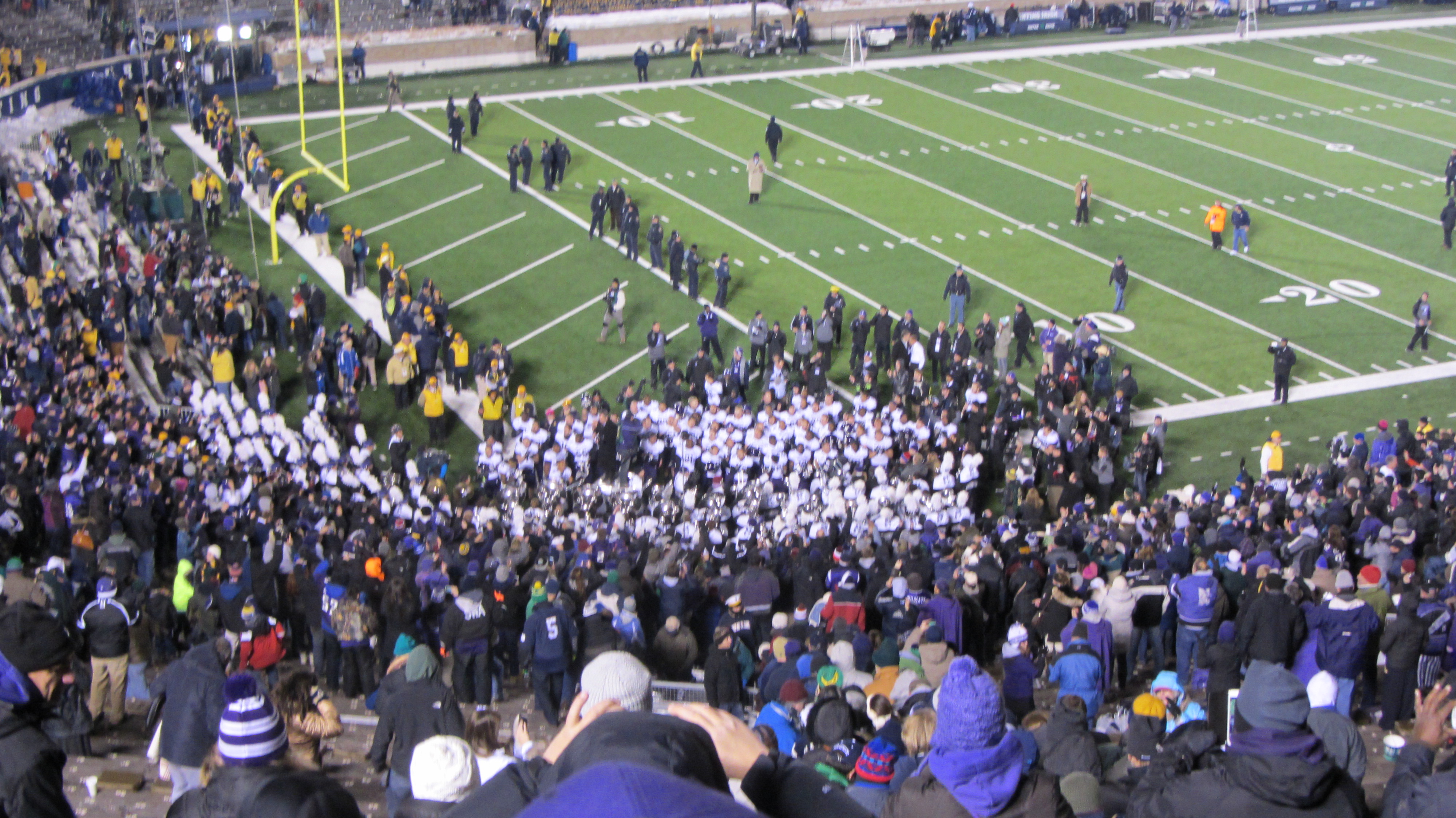 Northwestern players celebrating with the band and fans!