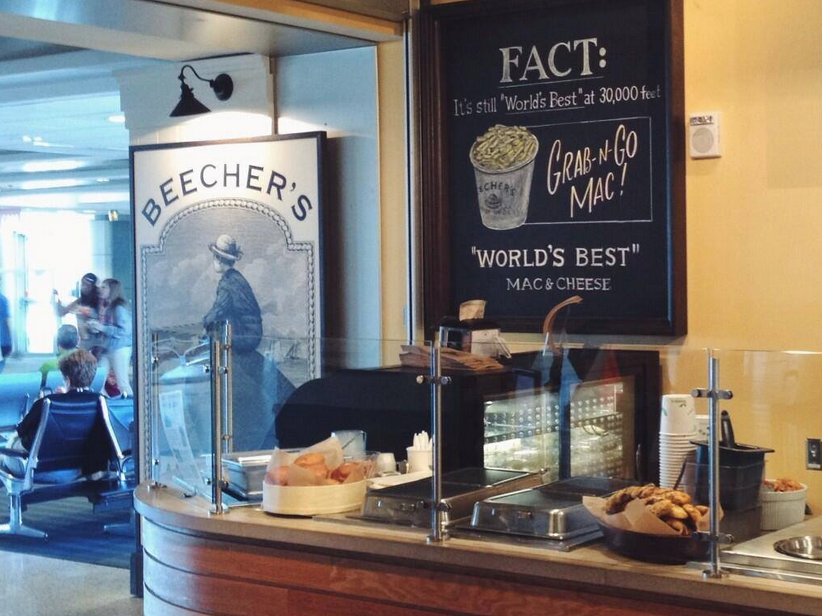 Beecher's Sea-Tac outpost is a prime stop for Caffe Vita espresso and all things fromage.