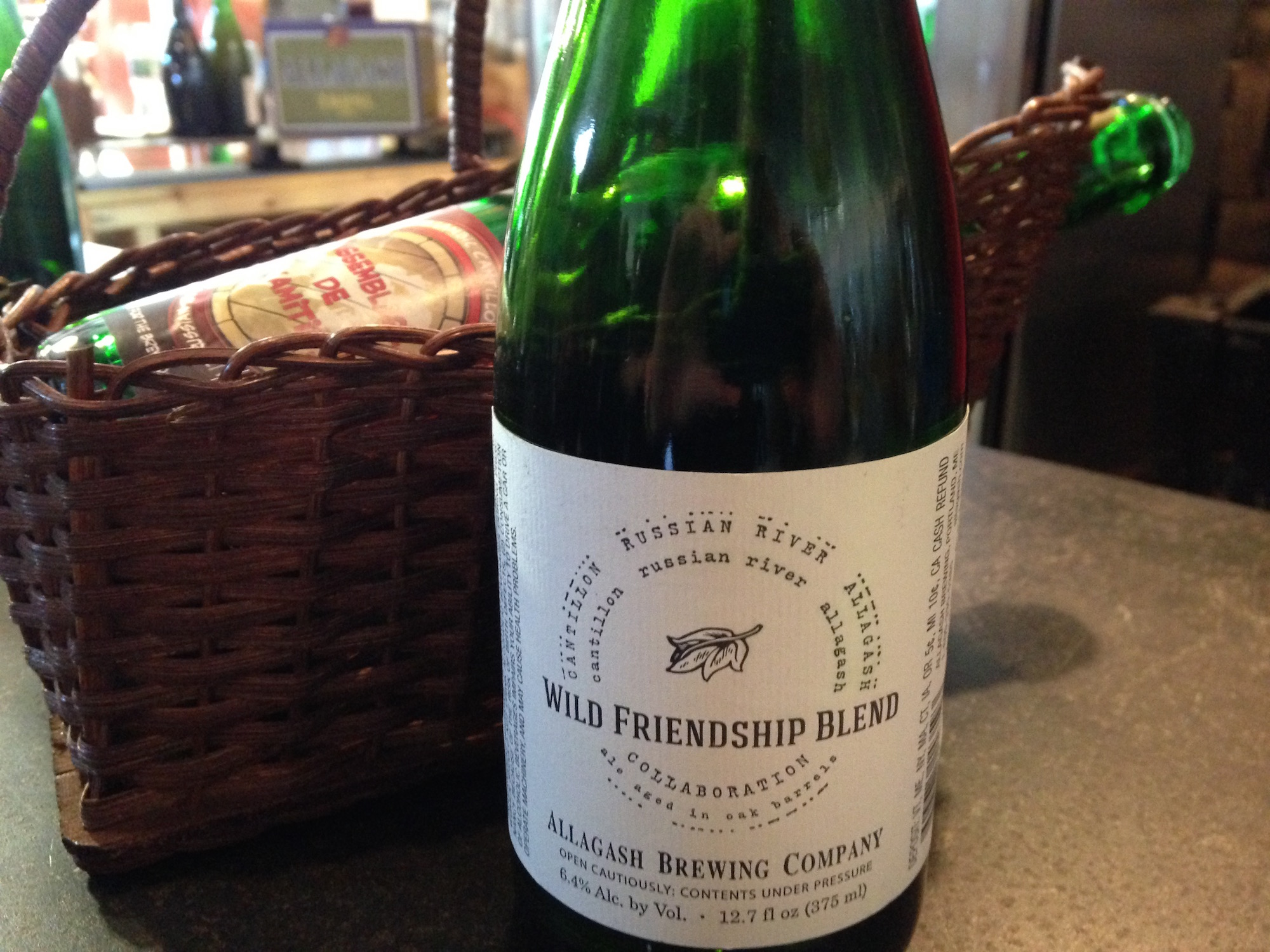 Allagash's version of the Wild Friendship Blend (foreground) and Cantillon's.