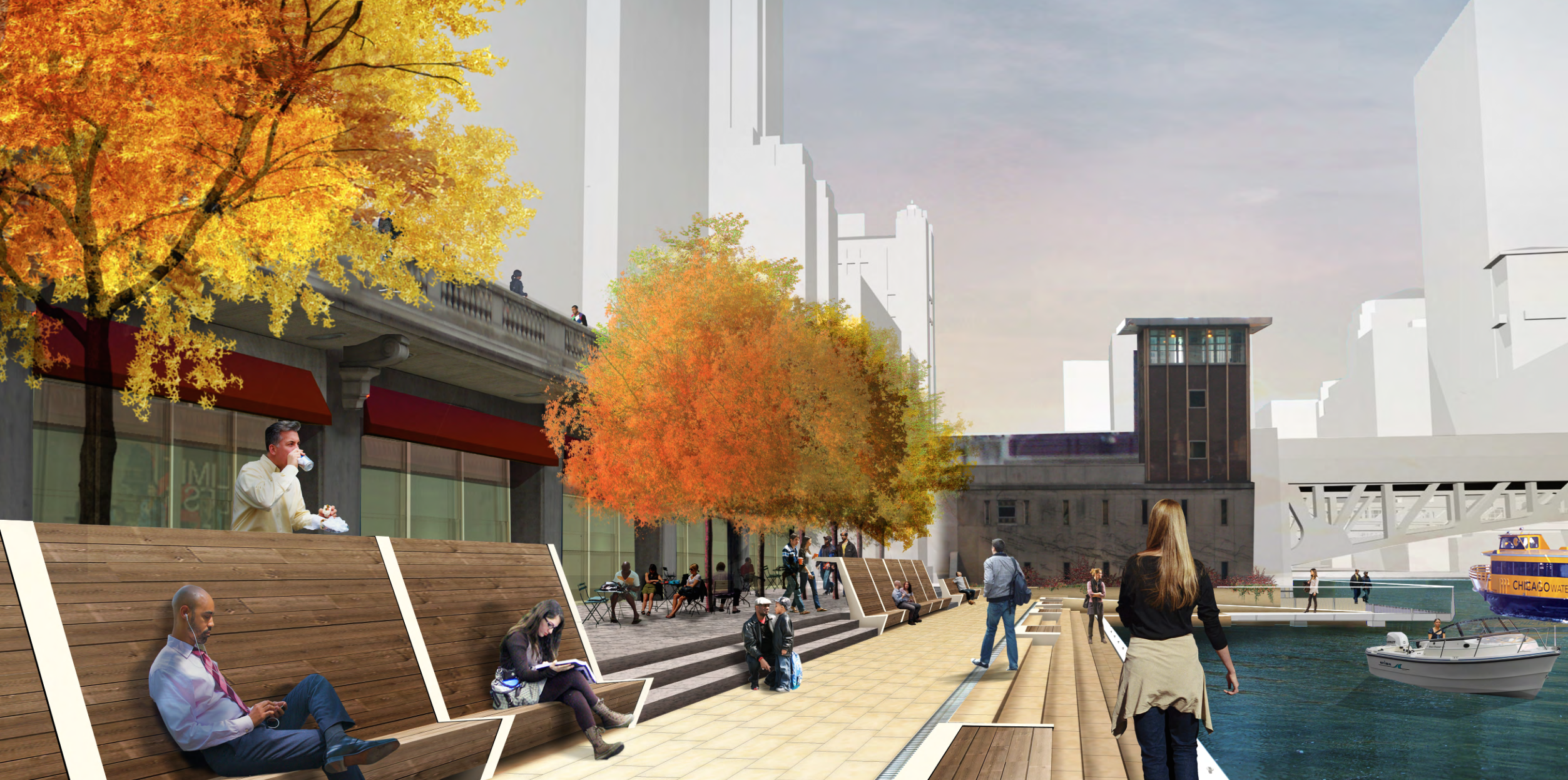 A rendering of The Marina portion of the Chicago Riverwalk