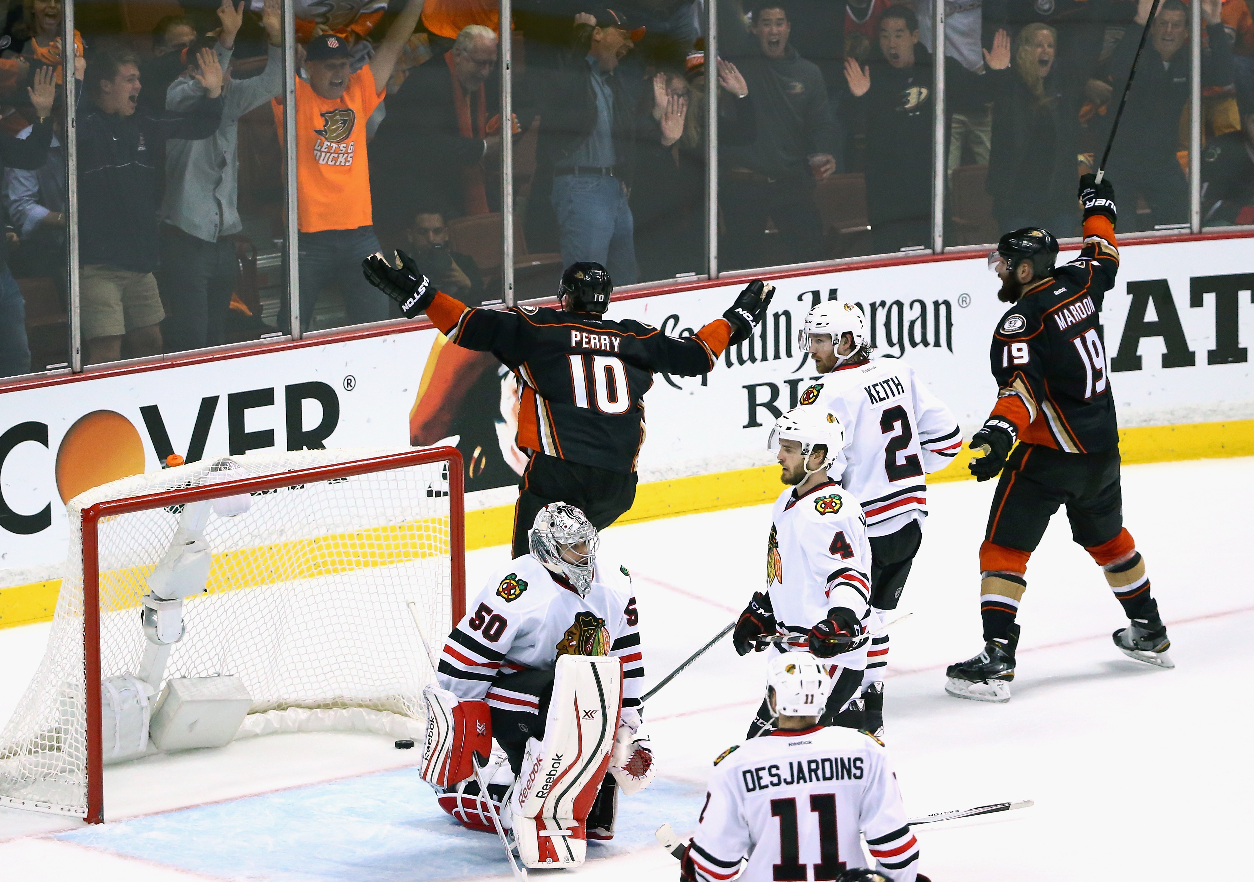 Corey Perry celebrates his game-tying goal in game two.