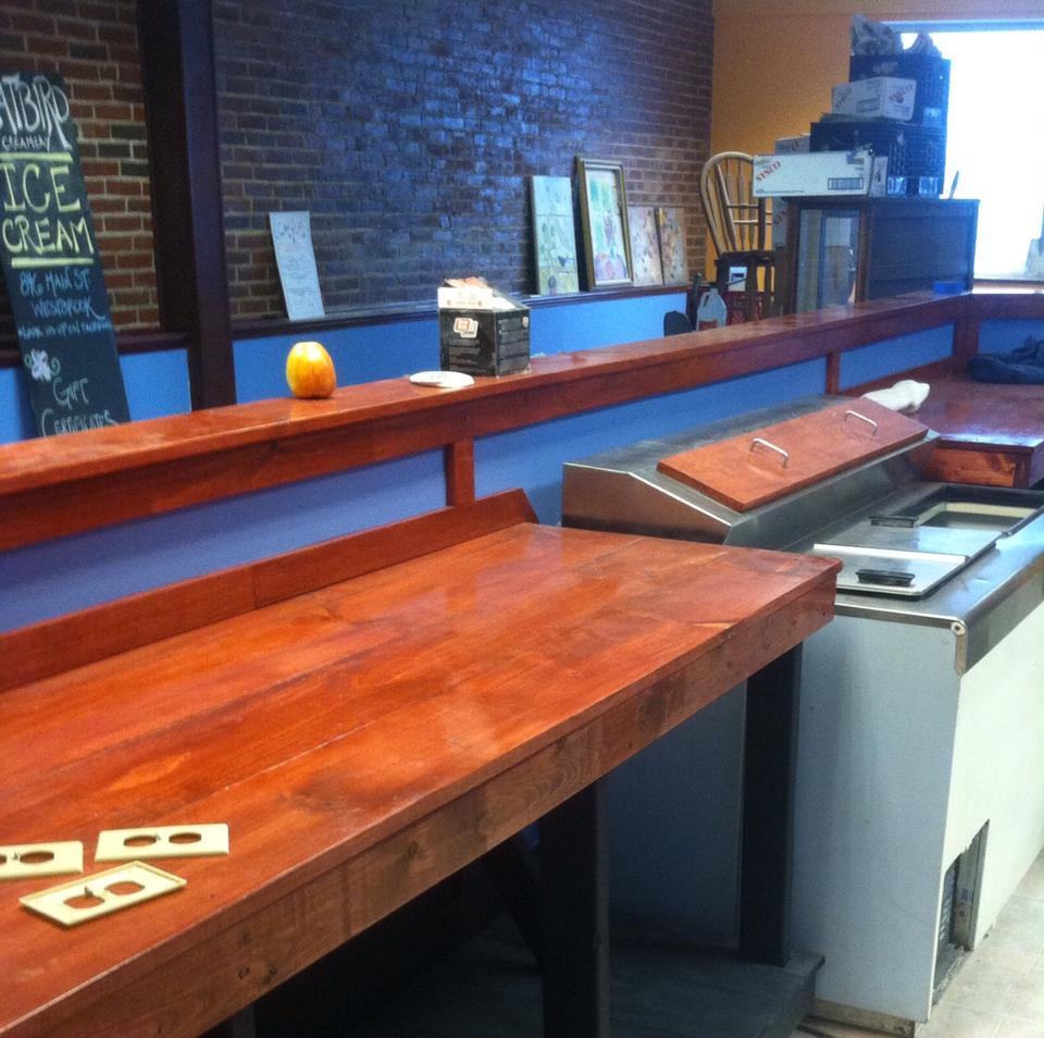 A peek at the new interior of Catbird Creamery.