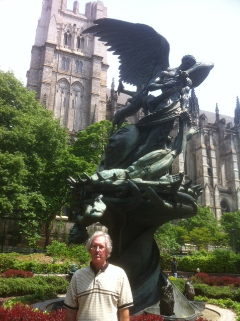 Hunter in front of the Peace Fountain at the Cathedral of Saint John the Divine in New York City