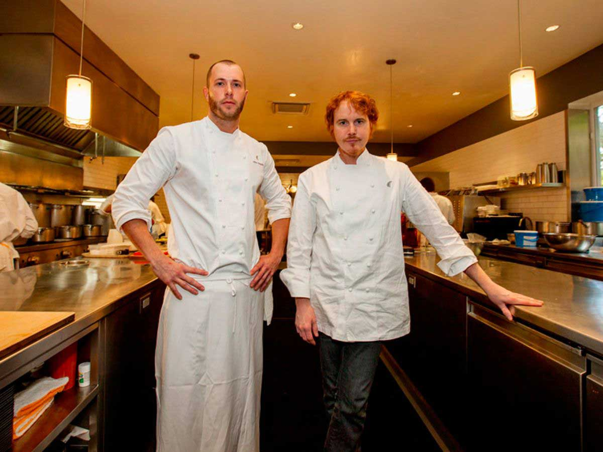 Chefs Mike Bagale and Grant Achatz.