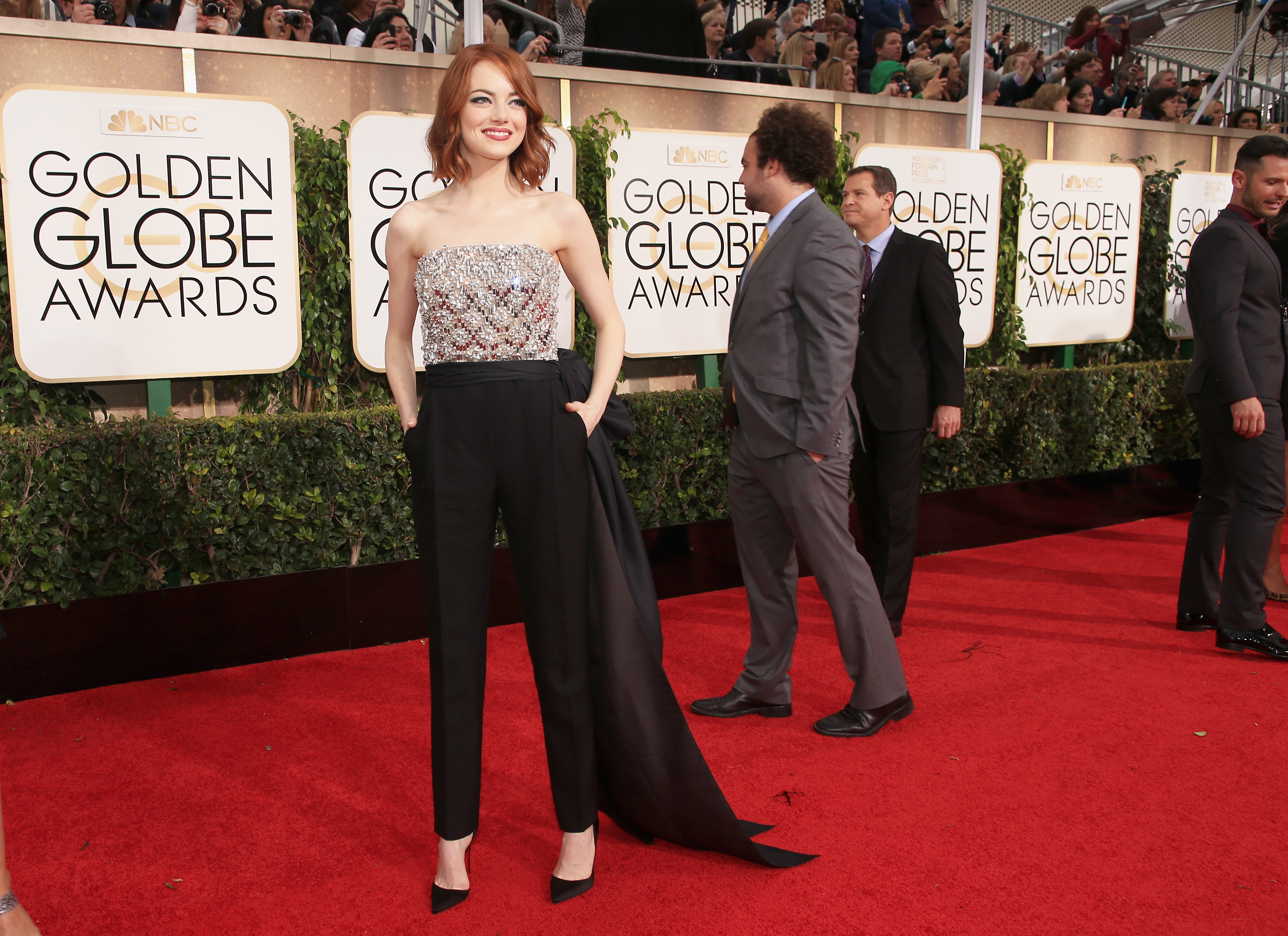 Emma Stone at the Golden Globes. Photo: Getty