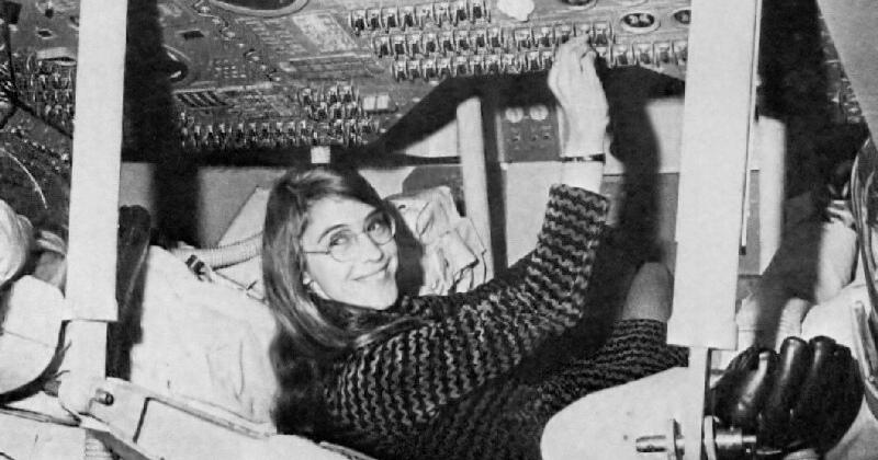 Margaret Hamilton in an Apollo Command Module.