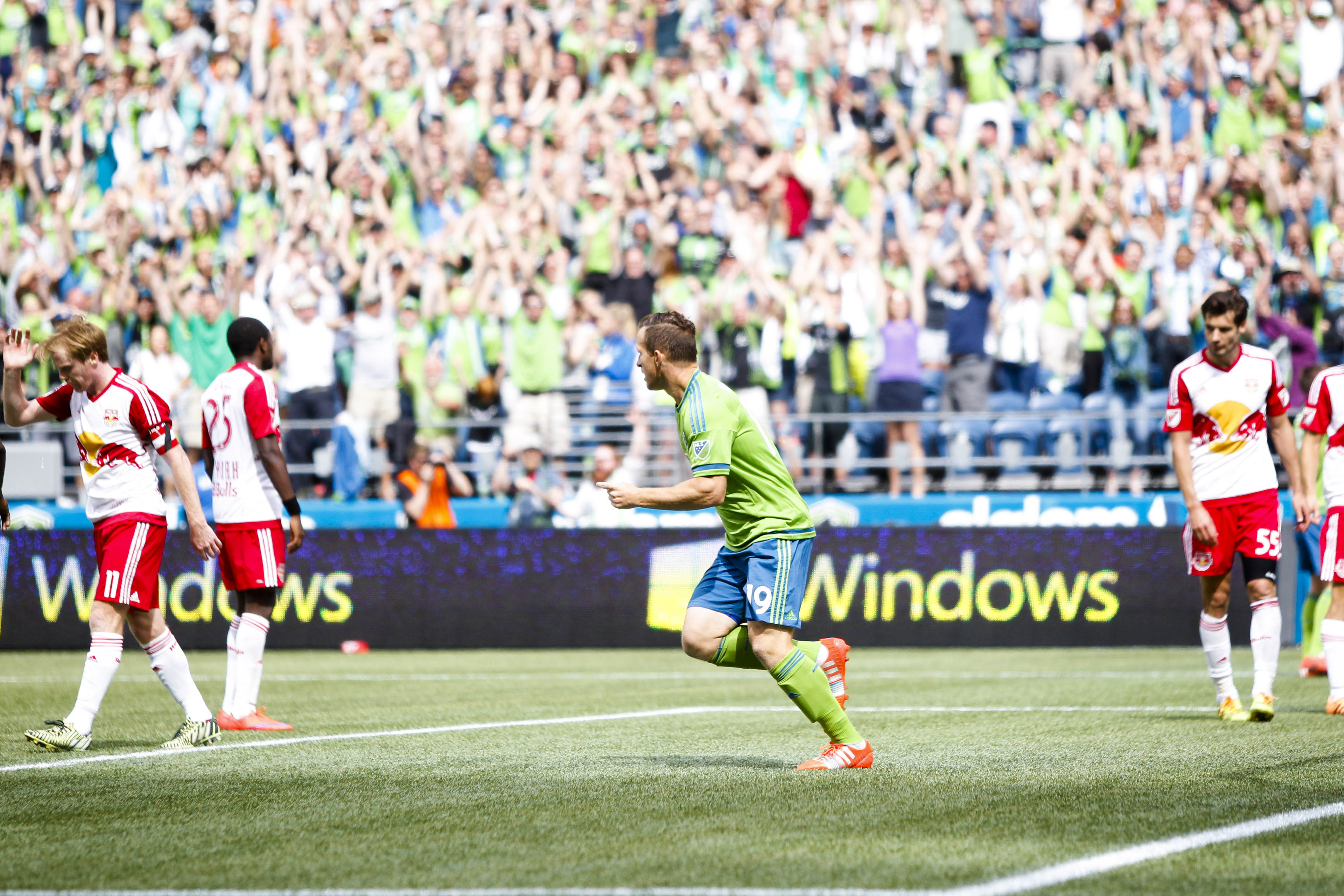 Barrett celebrates his 10th goal for the Sounders in MLS