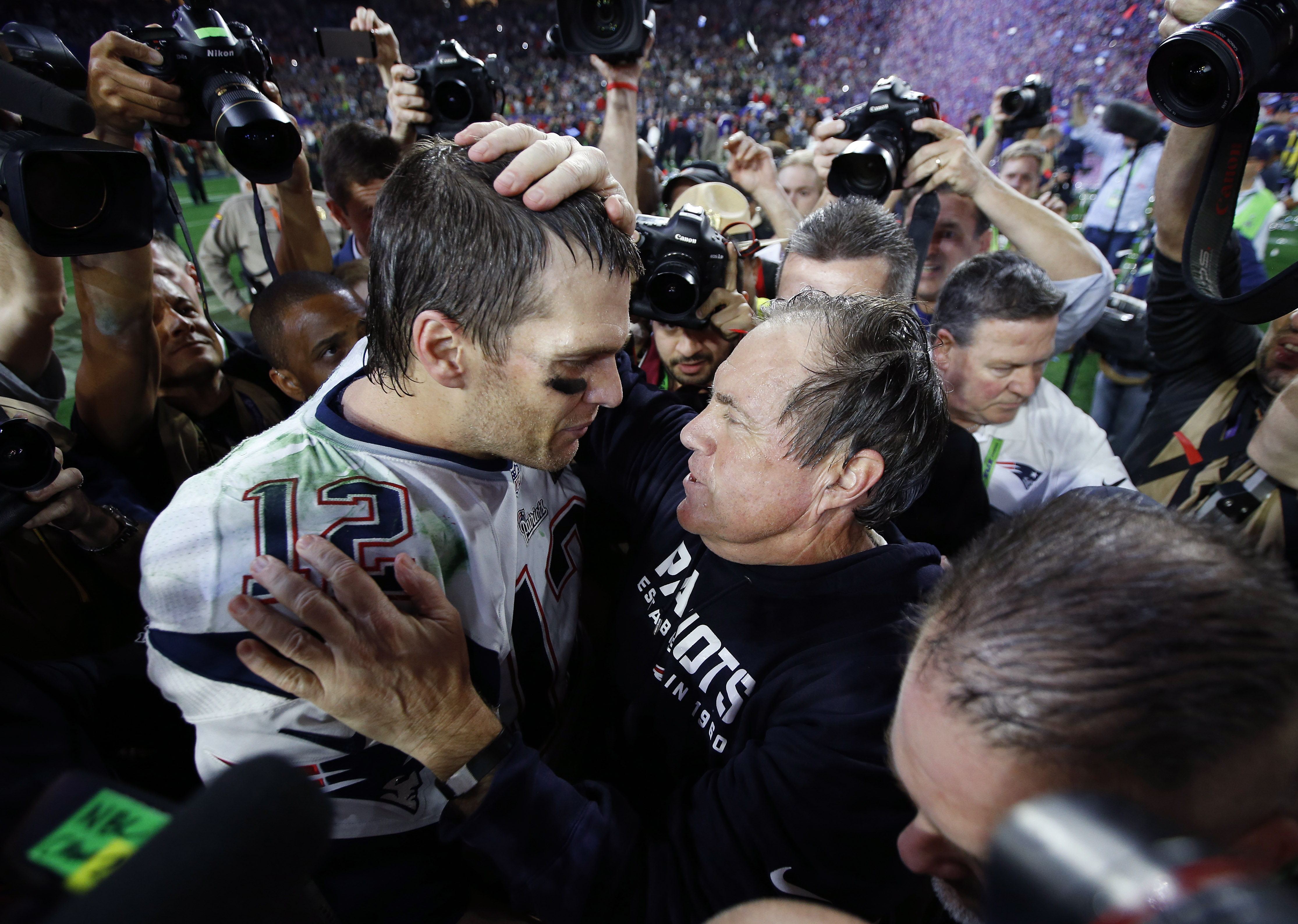 Tom Brady and Bill Belichick following the Super Bowl win in February