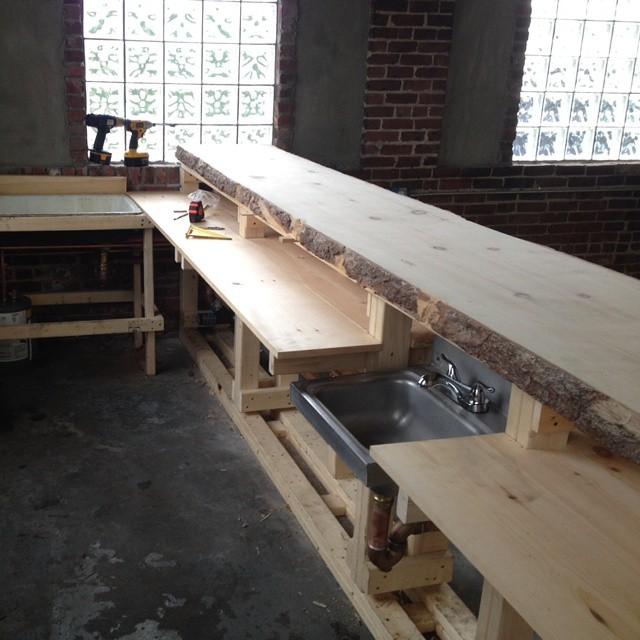 The bar at Short Path Distillery under construction