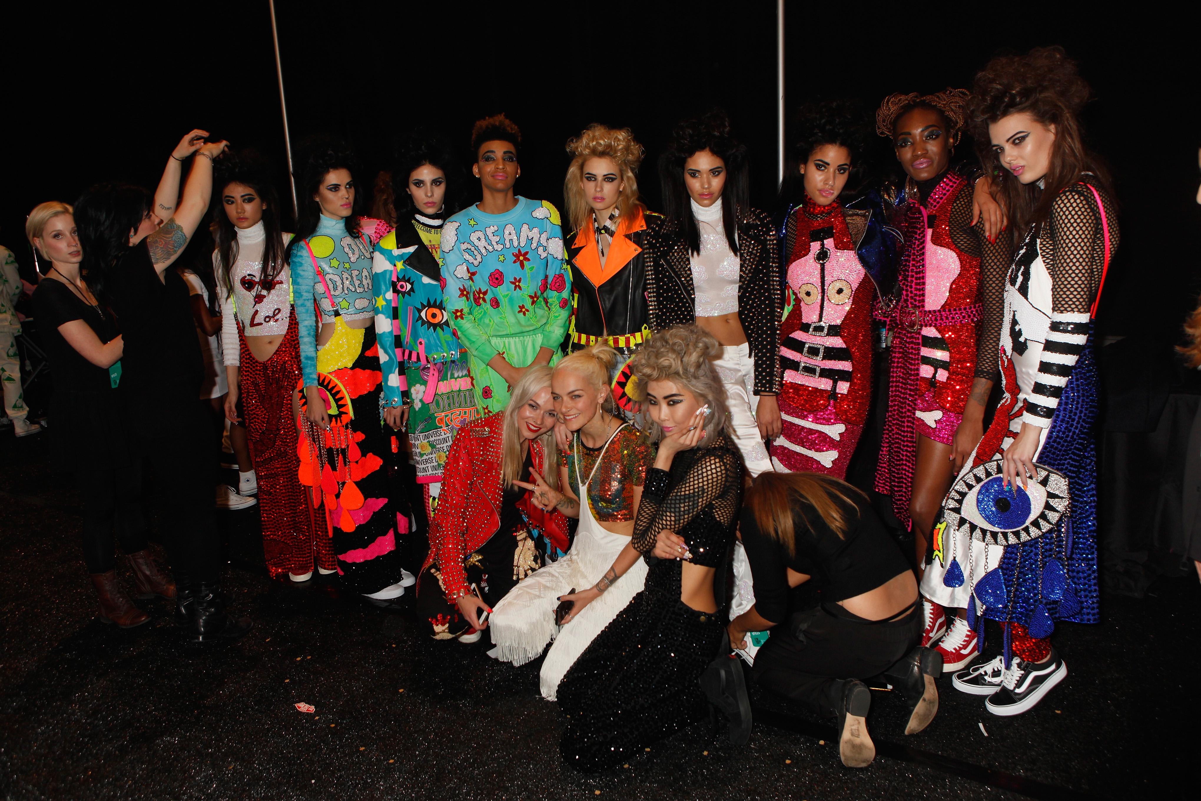 Backstage at Vfiles' fall 2015 runway show.