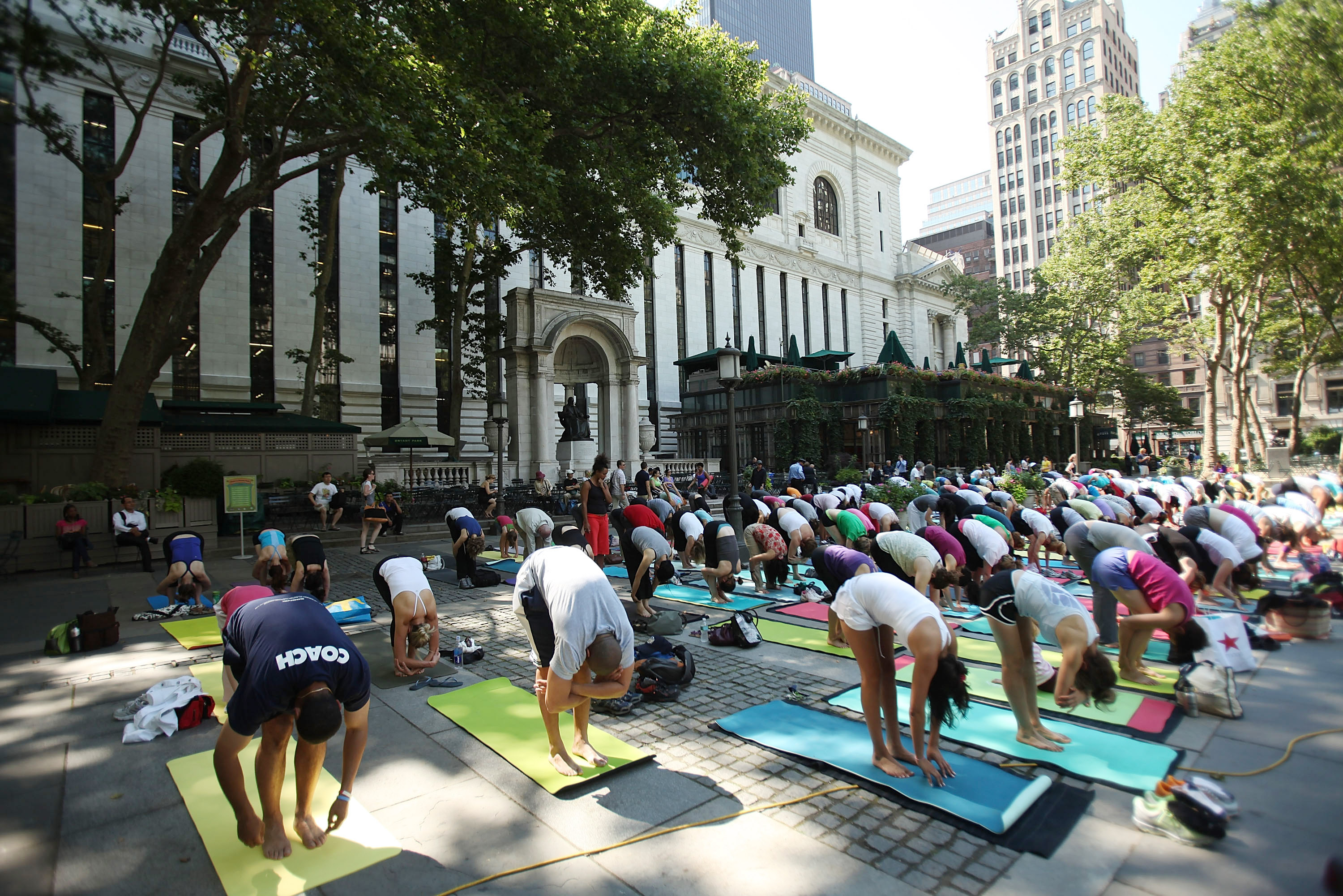 A yoga session in Bryant Park