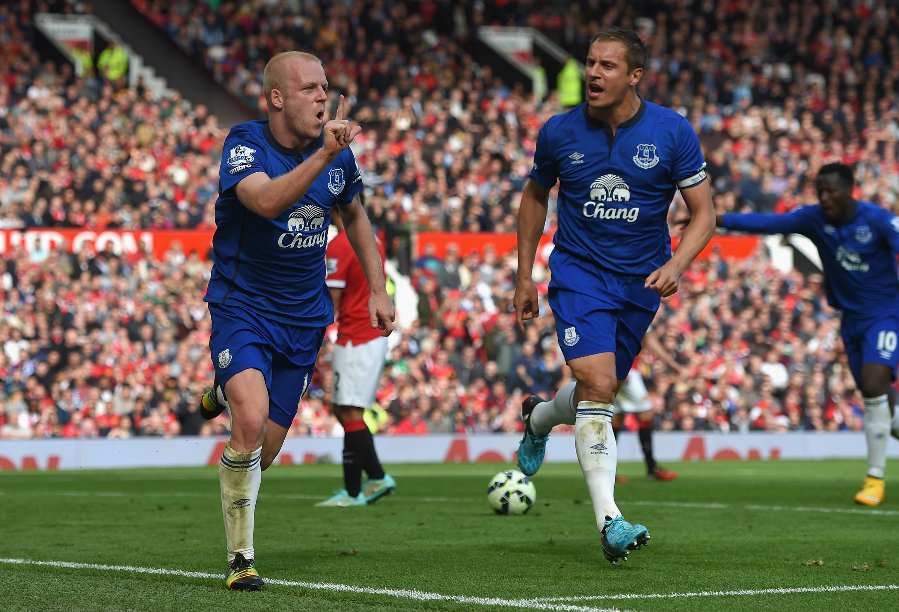Steven Naismith celebrates his fourth Premier League goal of the season in a match against Manchester United.