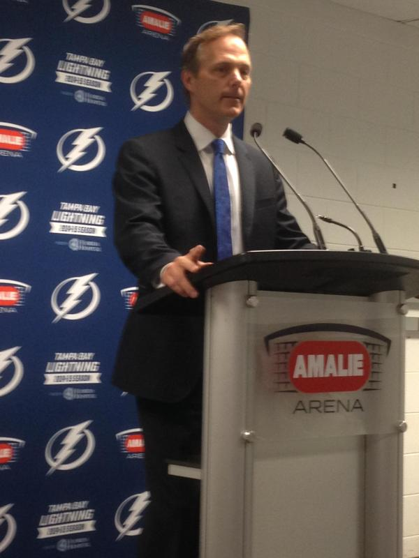 Lightning head coach Jon Cooper addresses local media following the conclusion of the 2014-15 season.