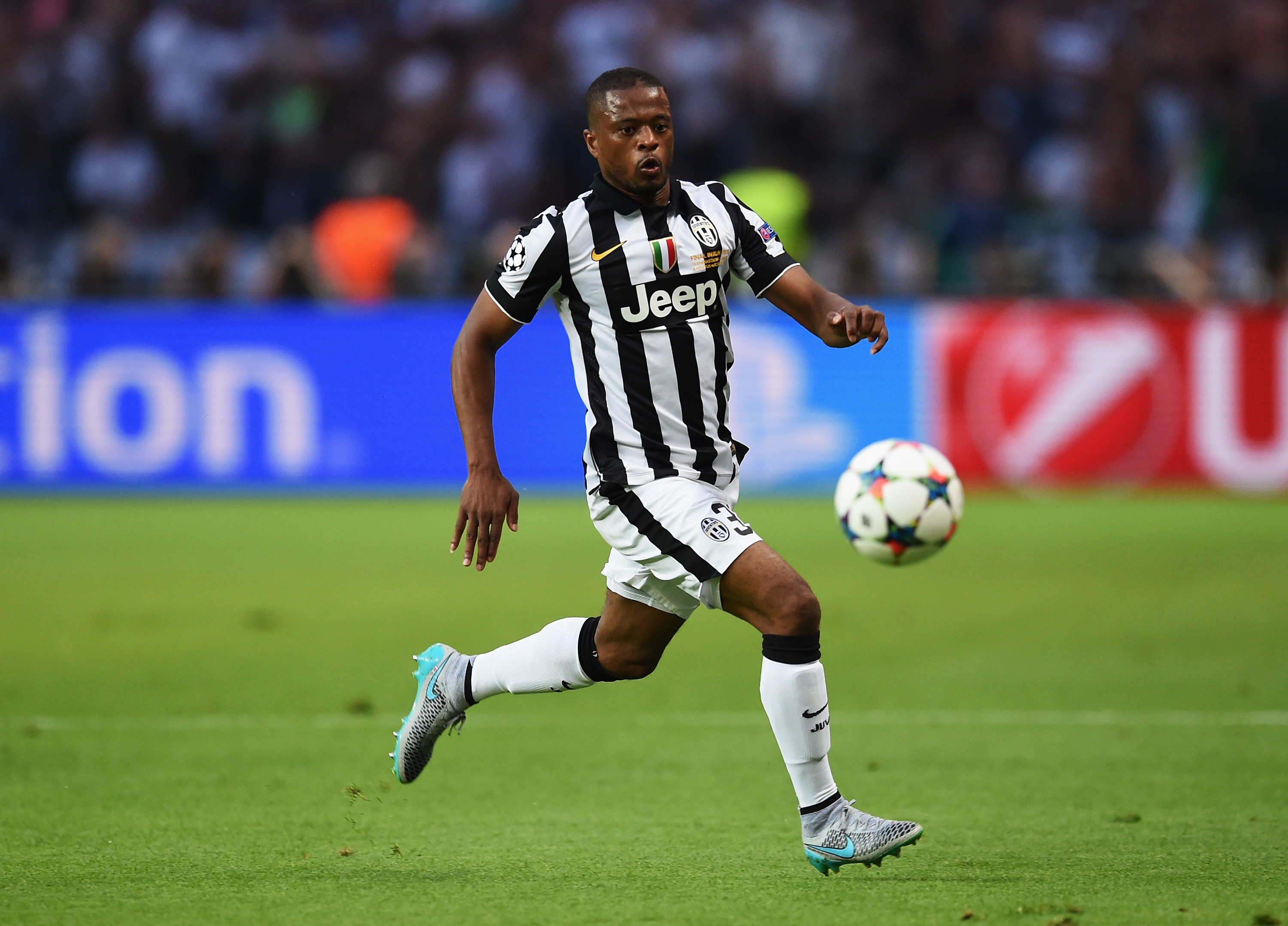 Patrice Evra, once again, running the flank in a Champions League final