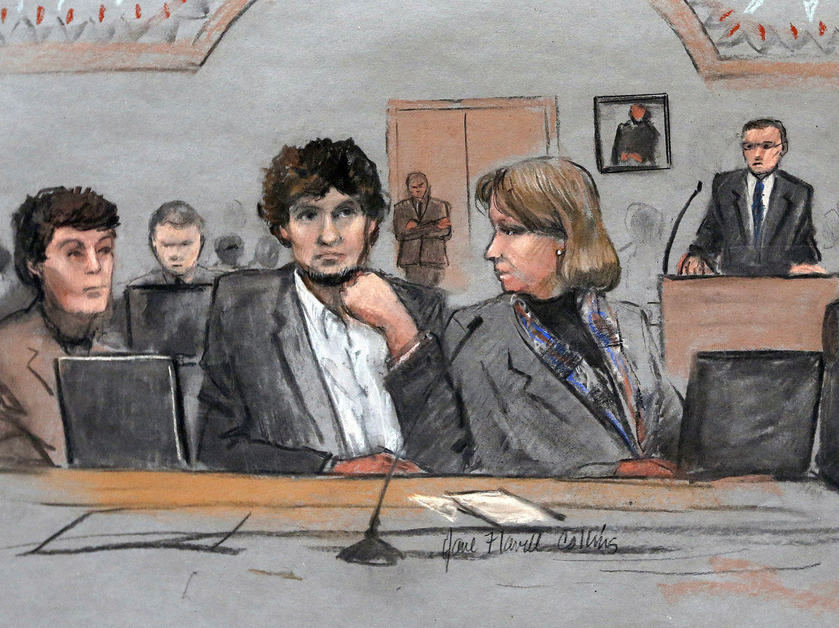A courtroom sketch shows Tsarnaev during his trial.