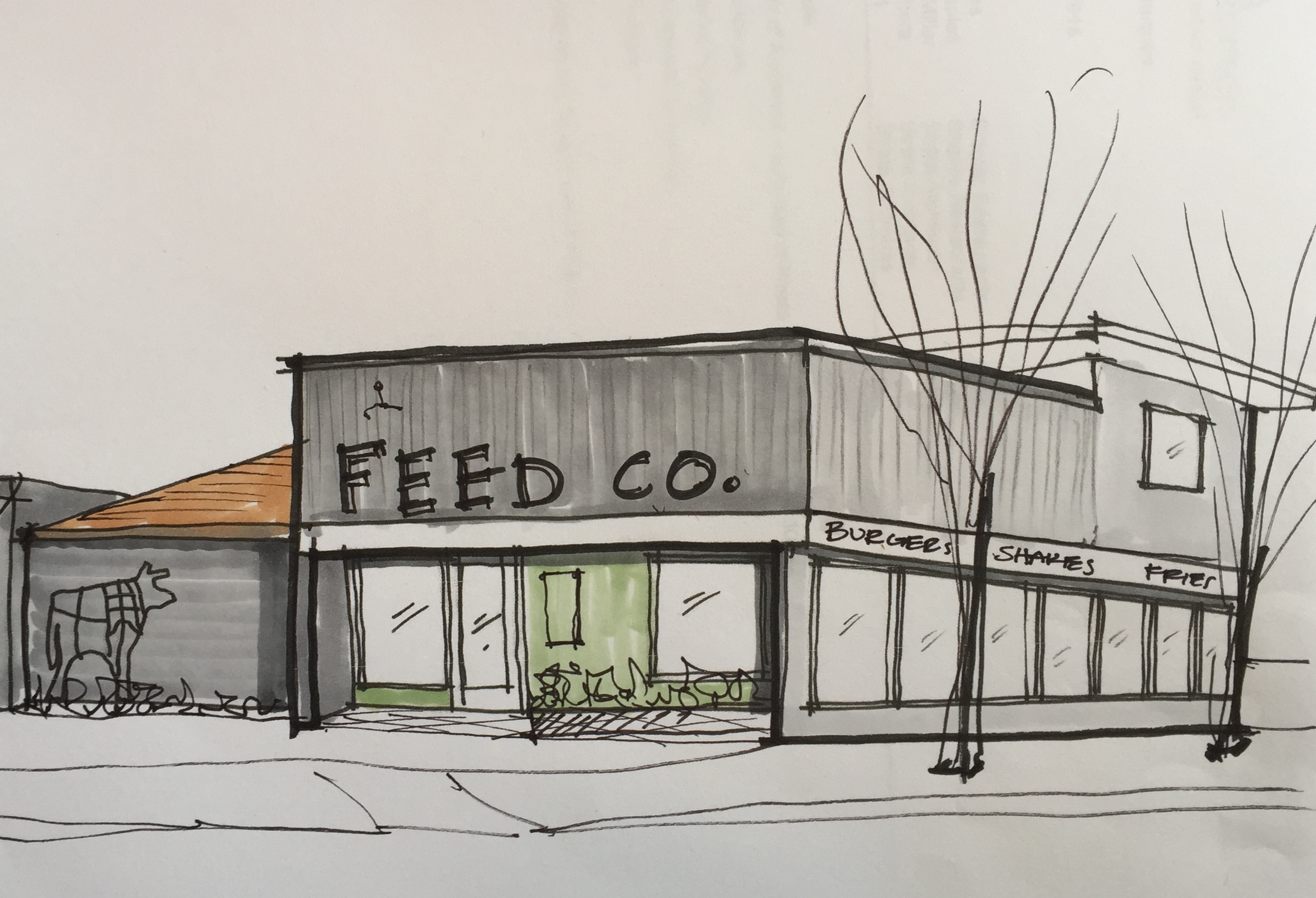 A rendering of Feed Co Burgers
