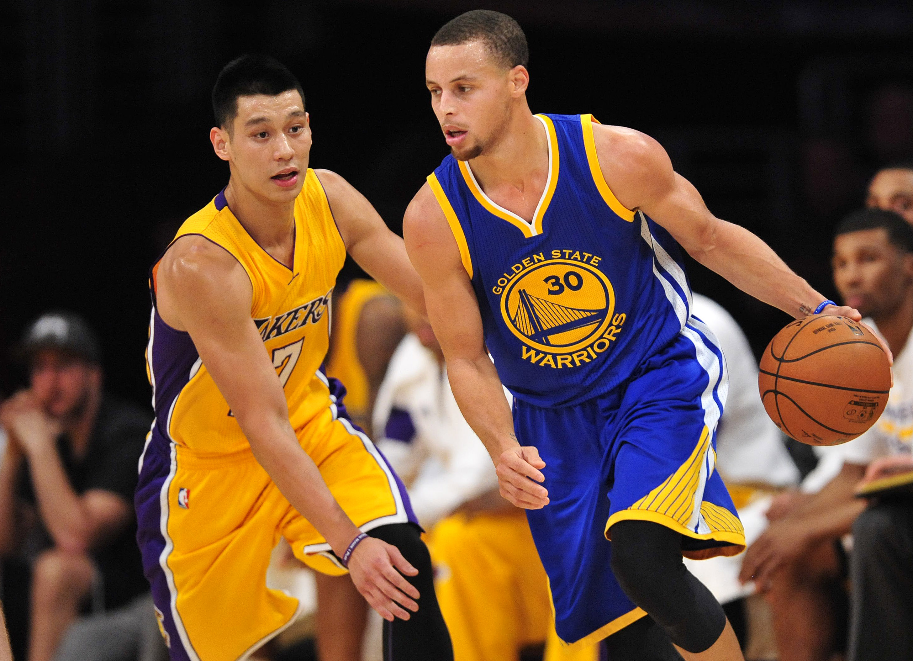 Jeremy Lin with future(?) teammate Curry.