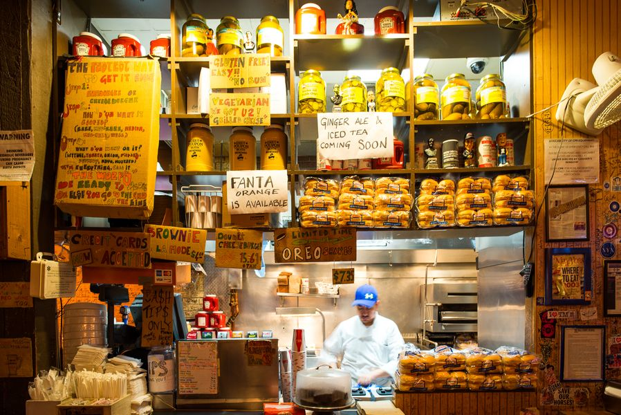 [The counter at Burger Joint in Midtown, a fine choice for lunch today.]