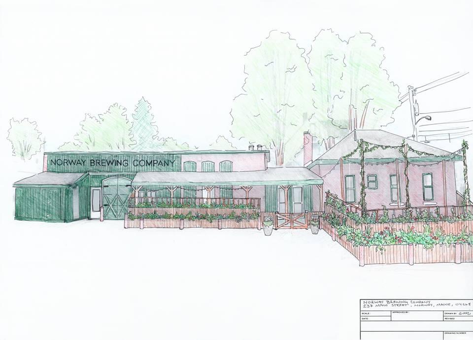 Artist's rendering of the planned beer garden.