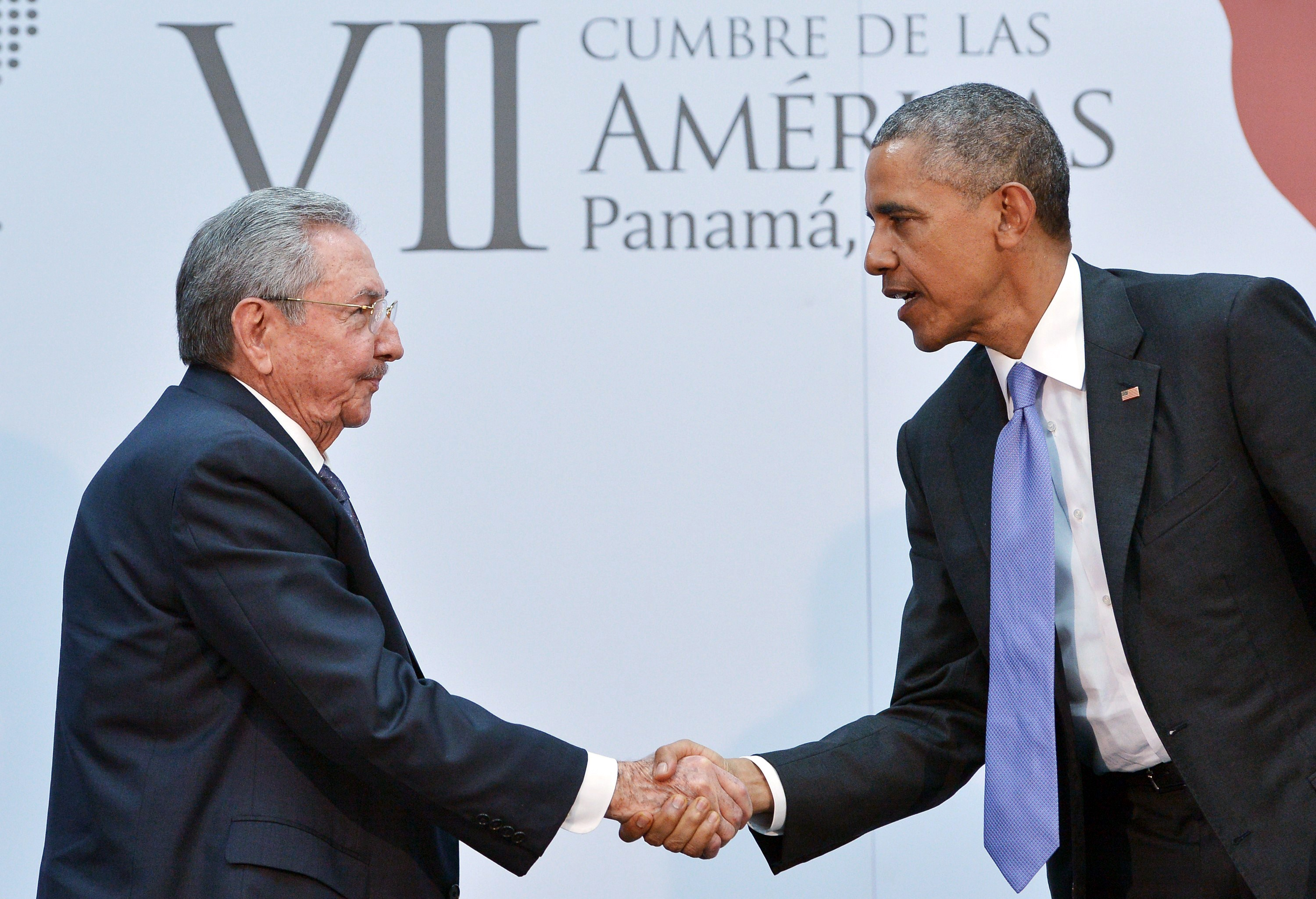 President Obama and Cuban President Raul Castro shake hands in April