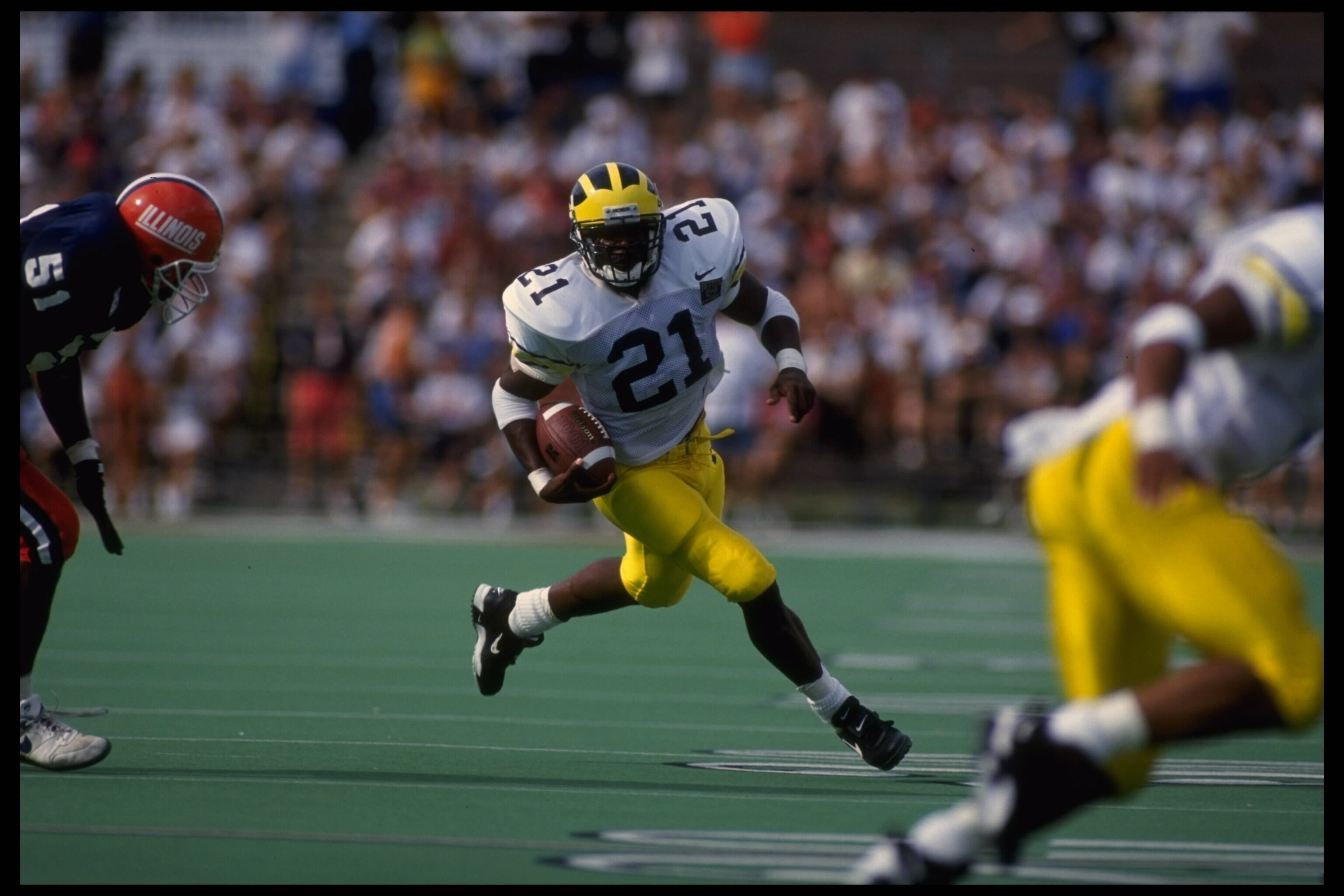 Tim Biakabutuka ran for 97 yards against Illinois, the same year he crushed OSU for 313