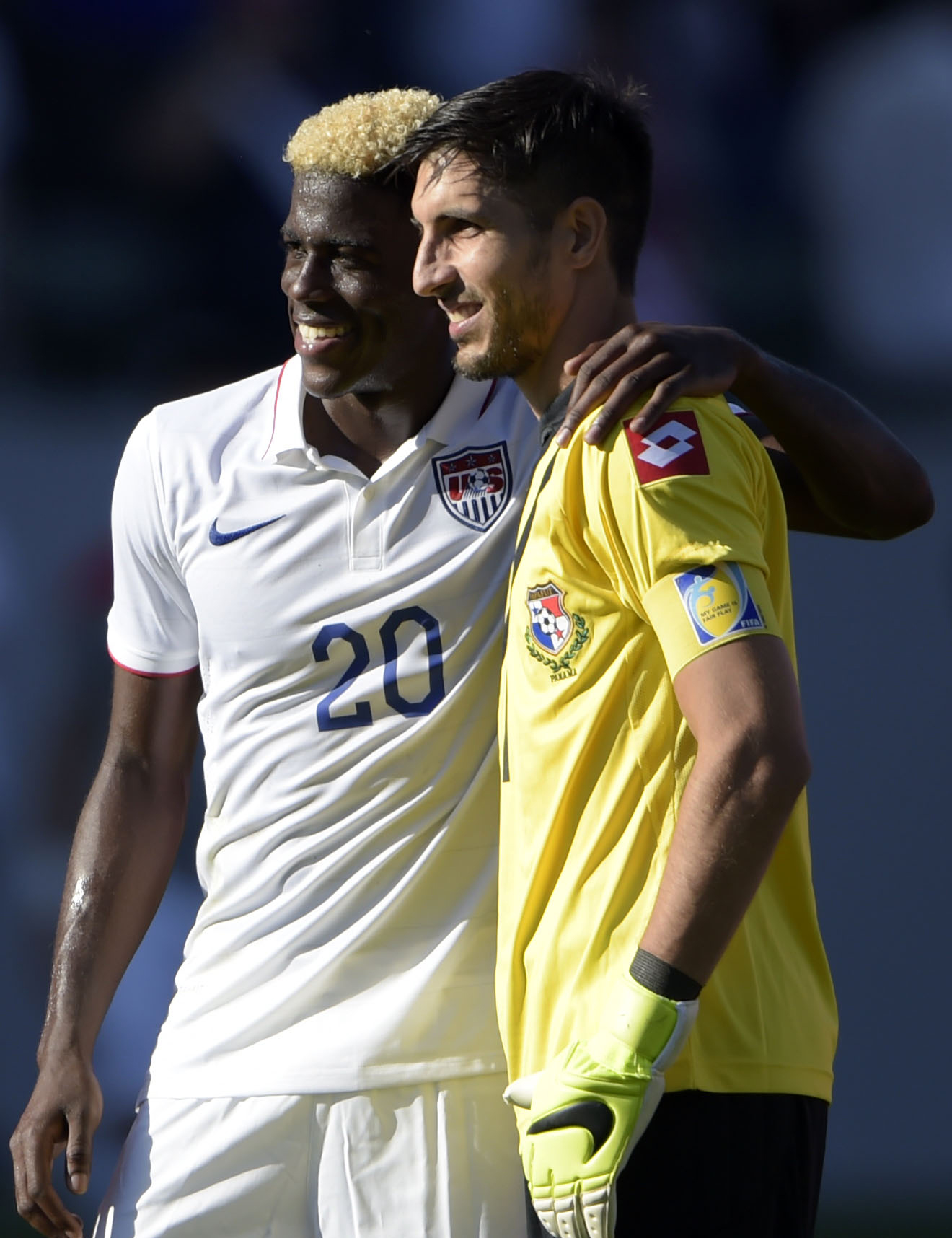 LA Galaxy teammates Gyasi Zardes (left) and Jaime Penedo might be smiling now, but how about next week when the USA plays Panama?
