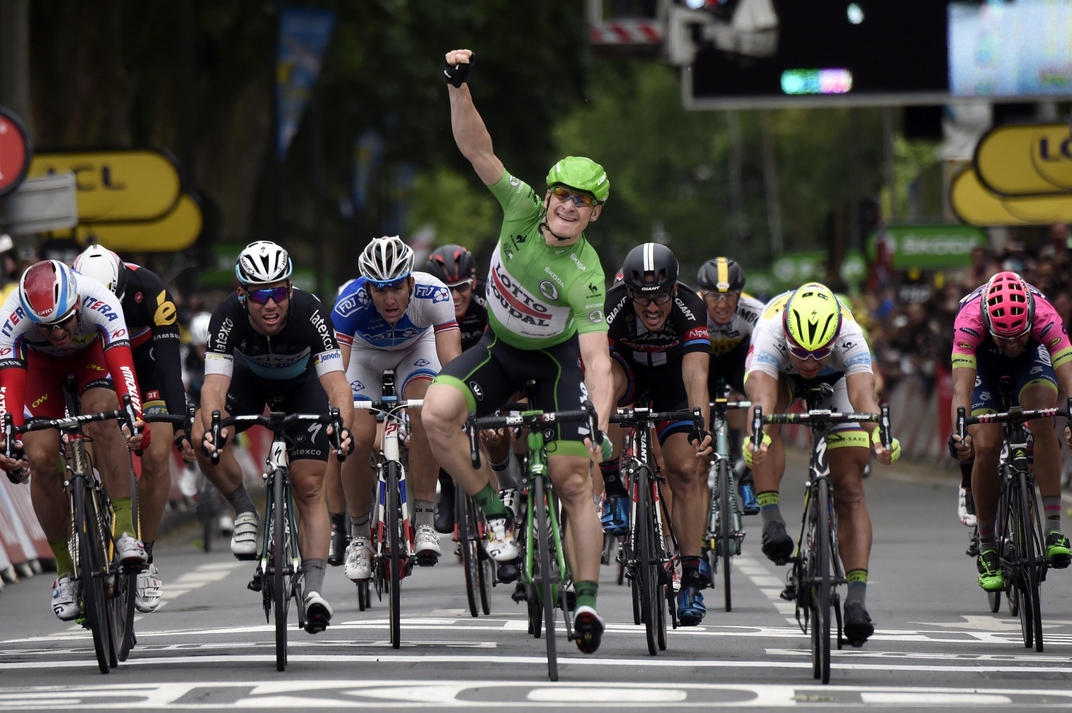 Greipel had time to celebrate, crossing the line ahead of Sagan's bike throw.