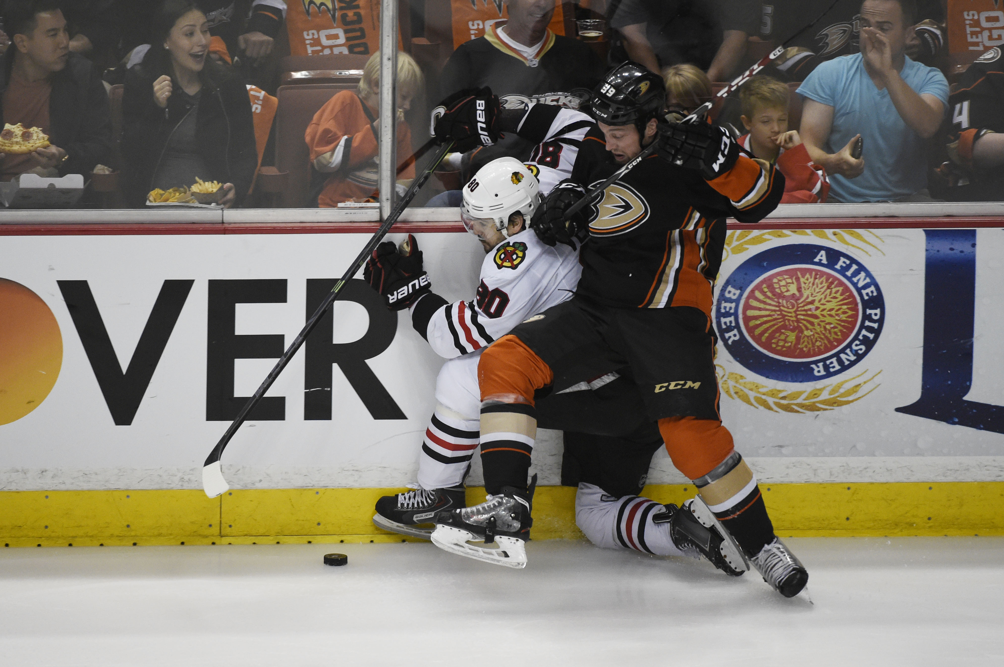 Beleskey checks Chicago's Antoine Vermette during the Western Conference Final.