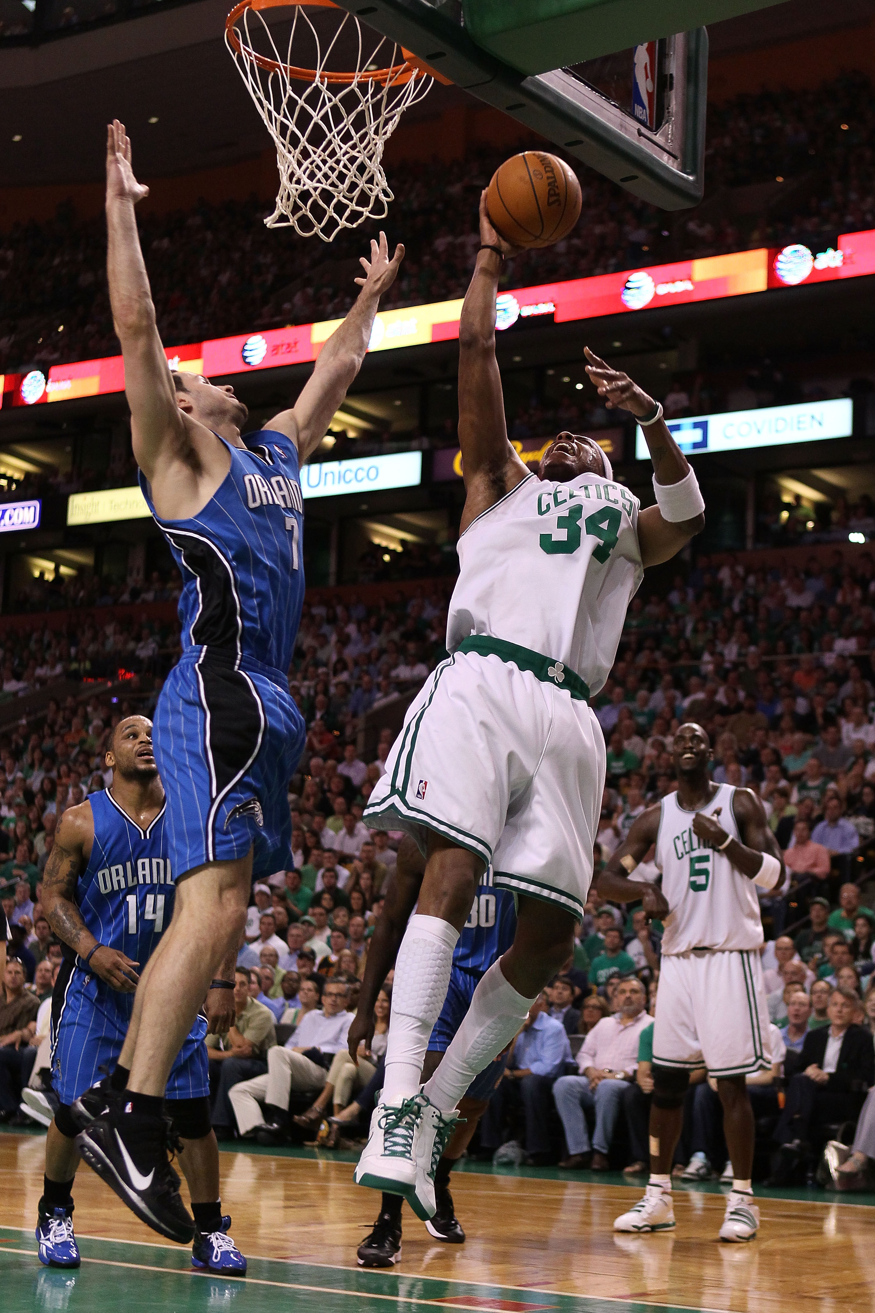A very old picture of J.J. Redick and Paul Pierce.