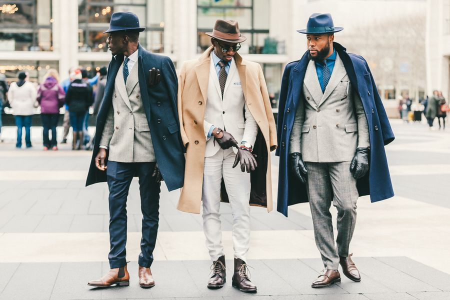 Guys attending New York Fashion Week in February