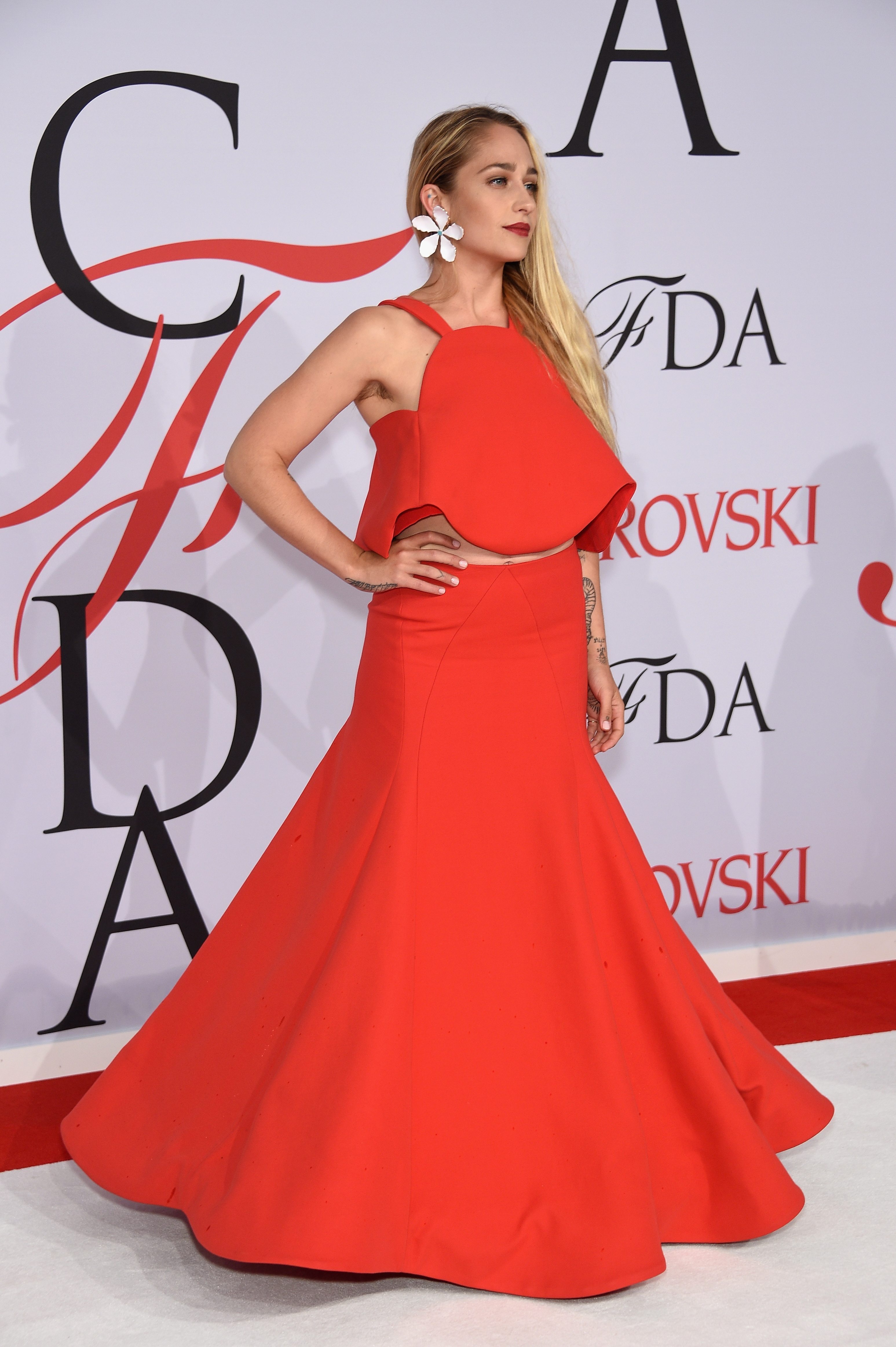 Jemima Kirke's controversial armpits at the CFDA Awards. Photo: Getty Images.