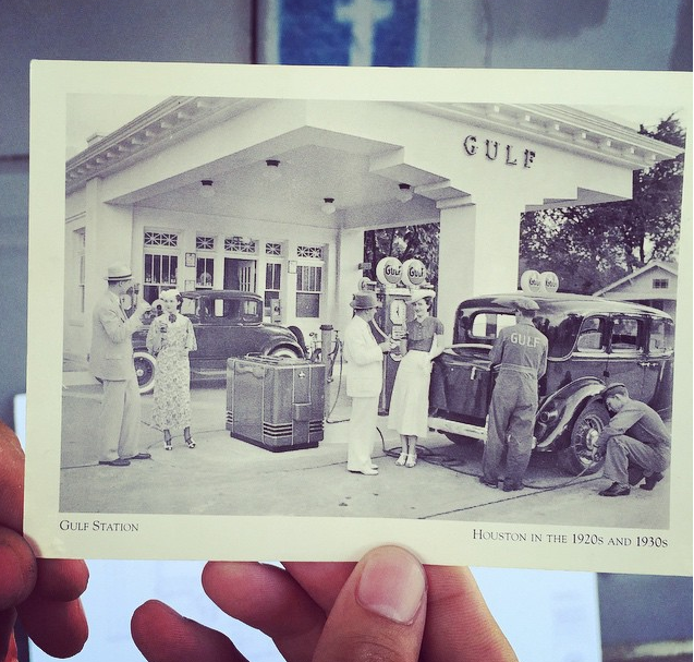1920s photo of the former Gulf Gas Station on La Branch, soon to be Retrospect Coffee Bar
